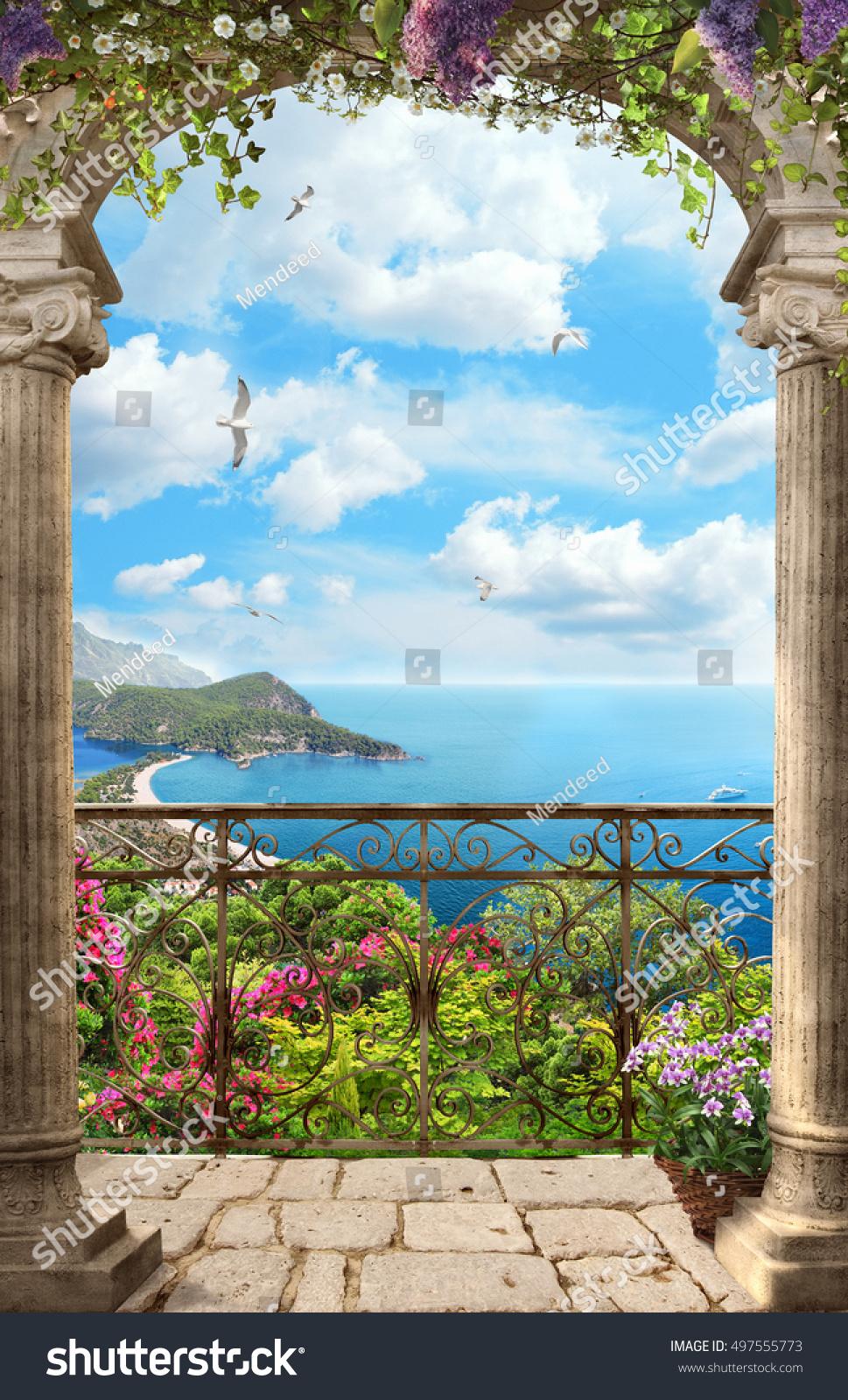 Фотообои вид с балкона = страница 2 из 2 купить на стену в у.