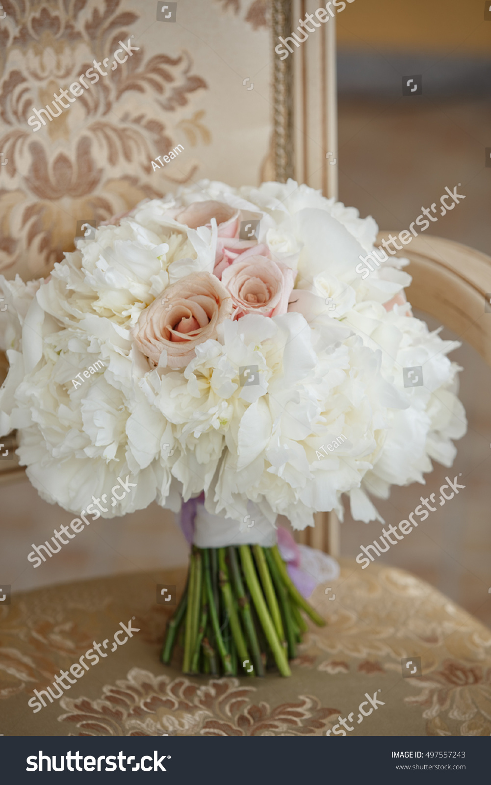 Bride Wedding Flowers Bouquet White Peony Stock Photo (Royalty Free ...