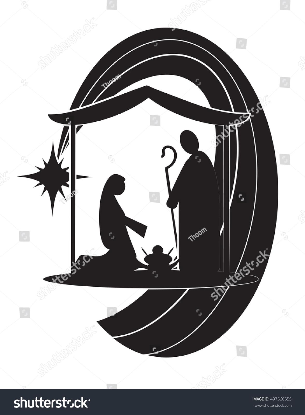 Christmas Nativity Religious Bethlehem Crib Scene Stock Vector ...
