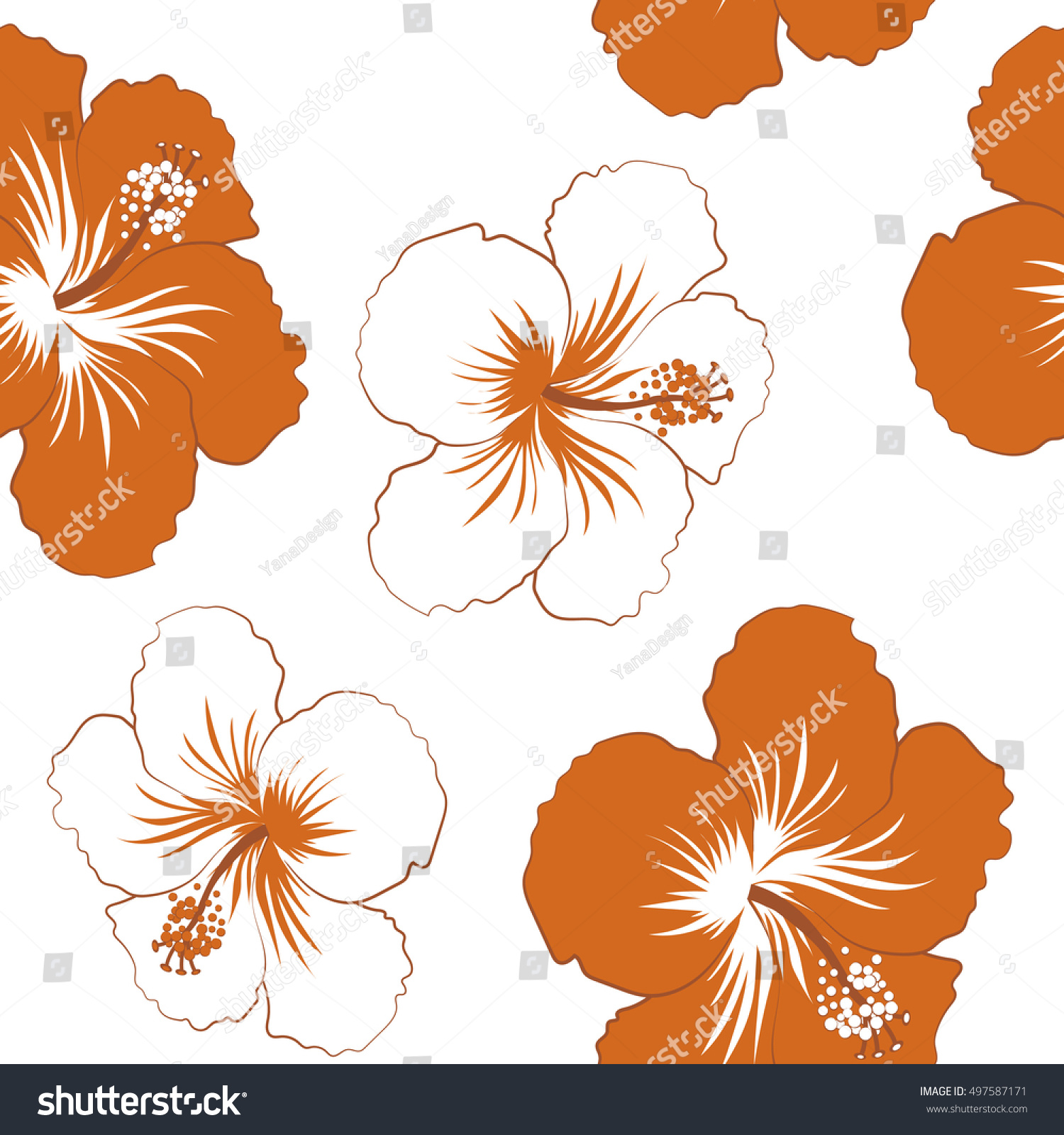 Vintage Seamless Tropical Hibiscus Flowers Pattern Stock