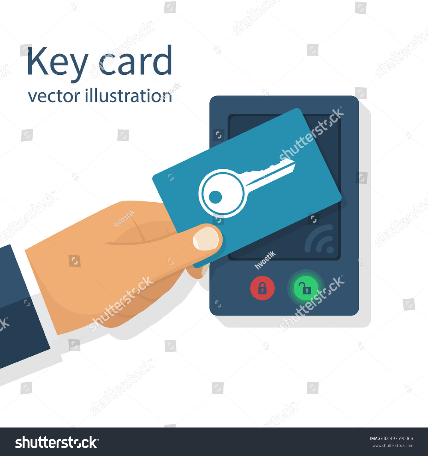 Key Card Access : Access control key card hand man stock vector