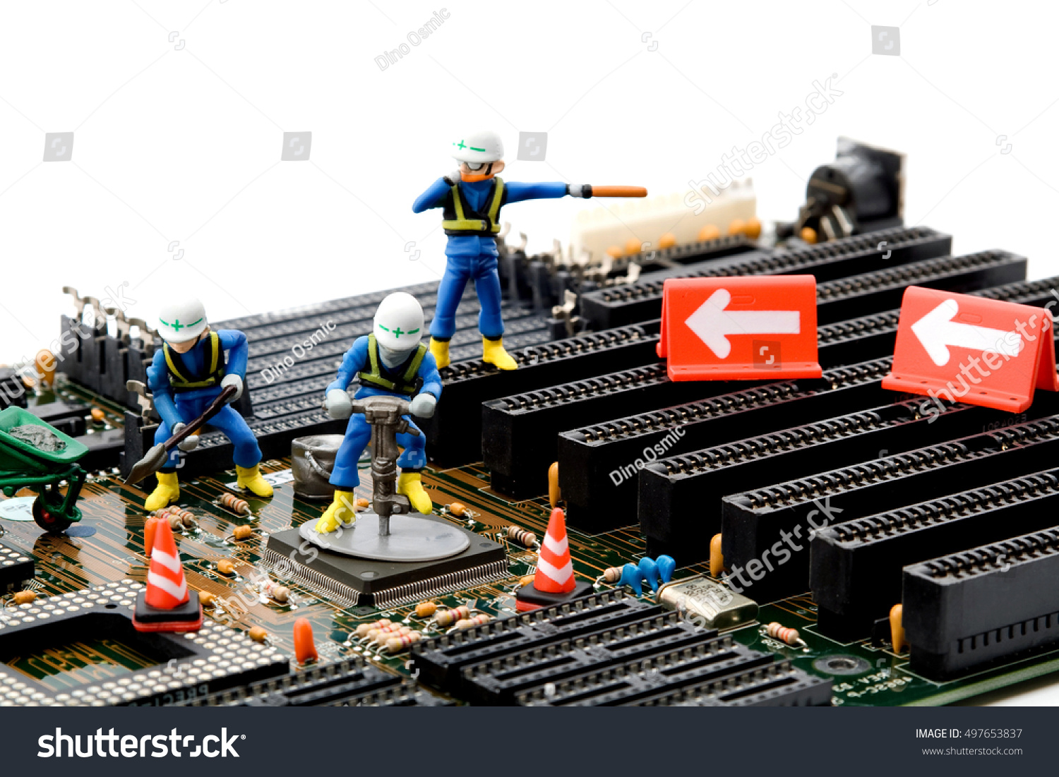 Construction Site Little Workers Repairing Motherboard