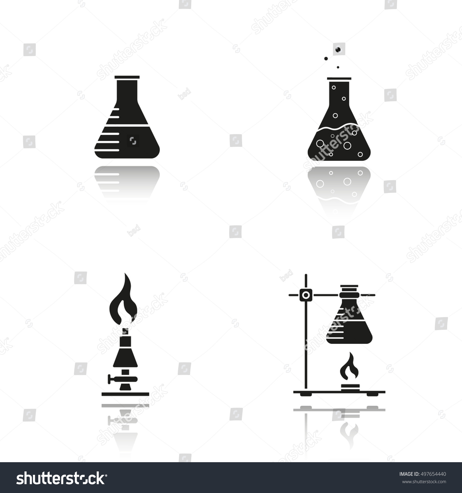 School Chemistry Lab Equipment Drop Shadow Stock Vector 497654440 ... for Ring Stand Chemistry  110yll