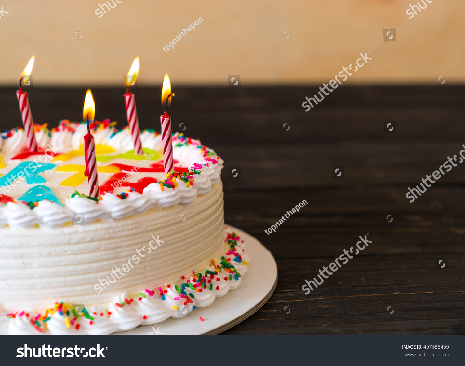 Happy Birthday Cake On Table Stock Photo Edit Now 497655409