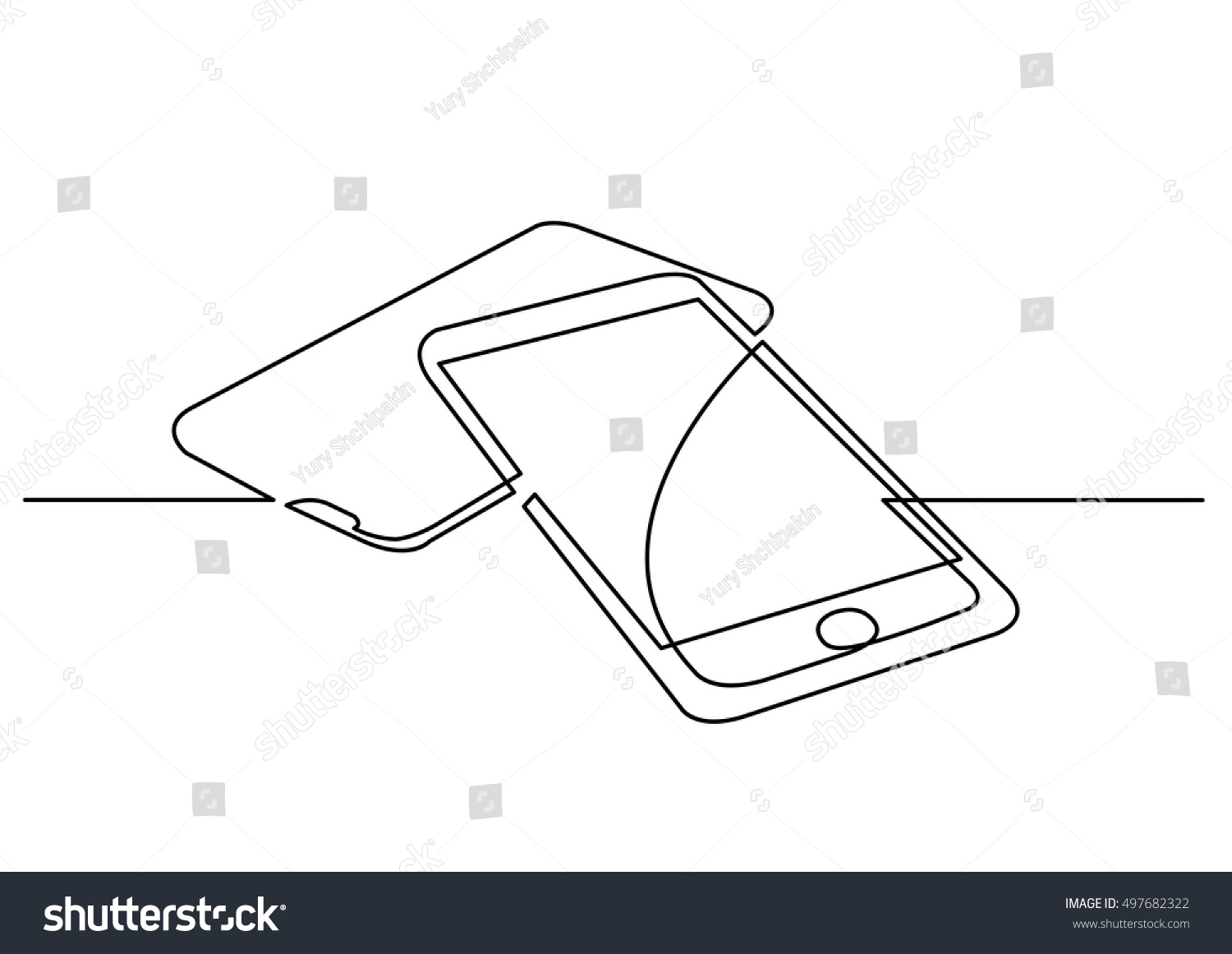 Line Art Digital : Continuous line drawing digital devices stock vector