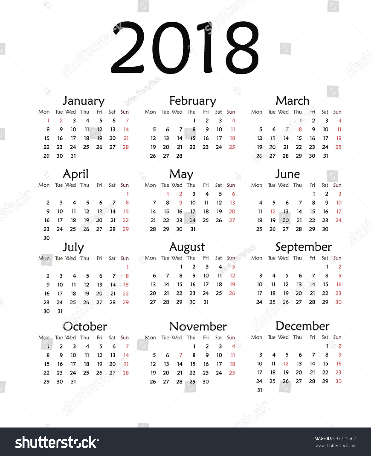 simple calendar for 2018 vector template design monthly date illustration 2018 calendar week organizer simple