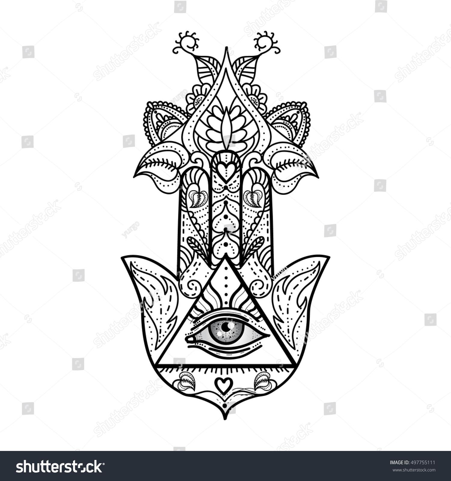 Vector Drawing Hamsa Hand All Seeing Stock Vector Royalty Free