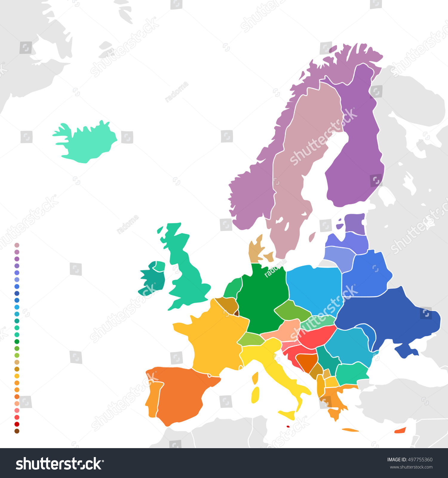 Colorful empty map europe simplified vector stock vector royalty colorful empty map of europe simplified vector map with countries in different colors gumiabroncs