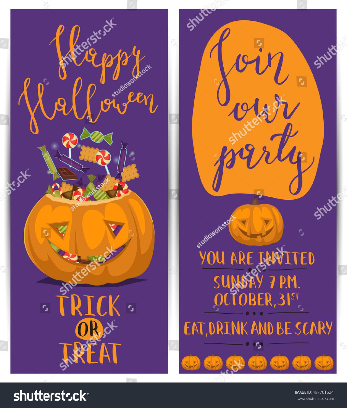Vintage Halloween Party Flyers Scary Pumpkin Stock Vector 497761624 ...