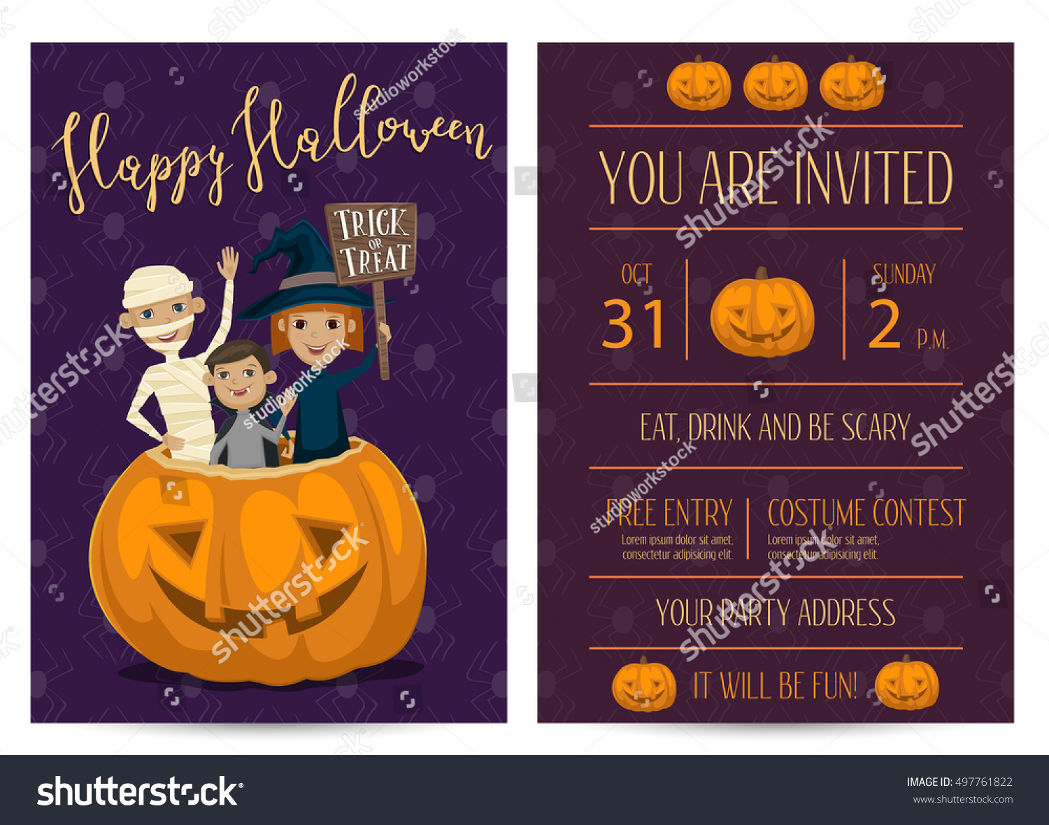 Halloween Party Invitation Halloween Elements Place Stock Vector ...