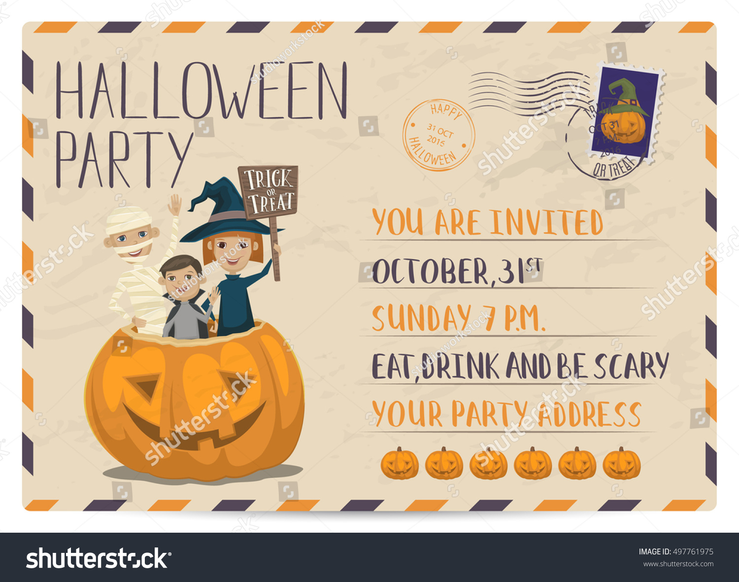 Halloween Party Vintage Postcard Invitation Funny Stock Vector ...
