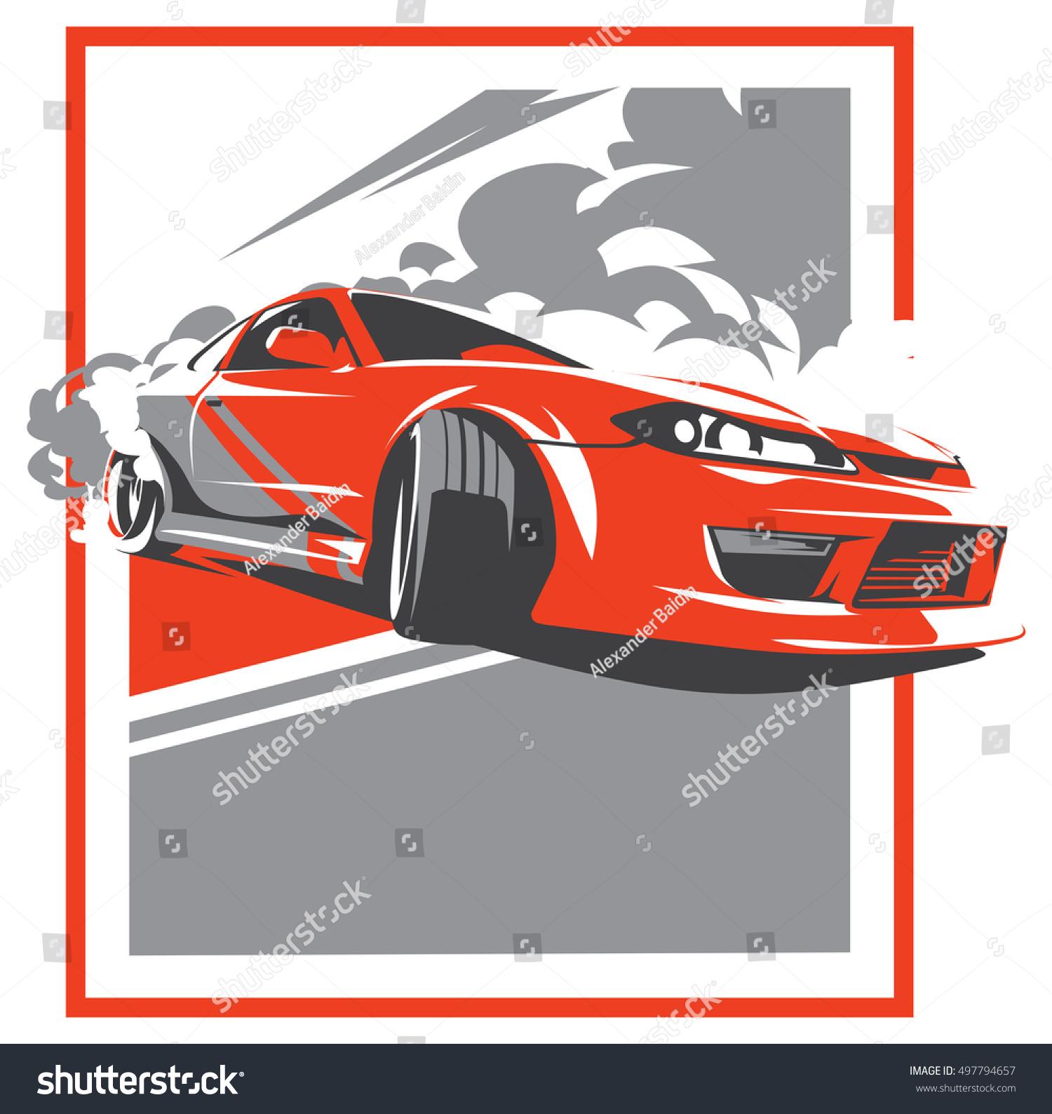 Burnout Car Japanese Drift Sport Car Stock Vector 497794657 ...