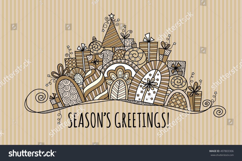 Seasons Greetings Modern Christmas Doodle Vector Stock Vector