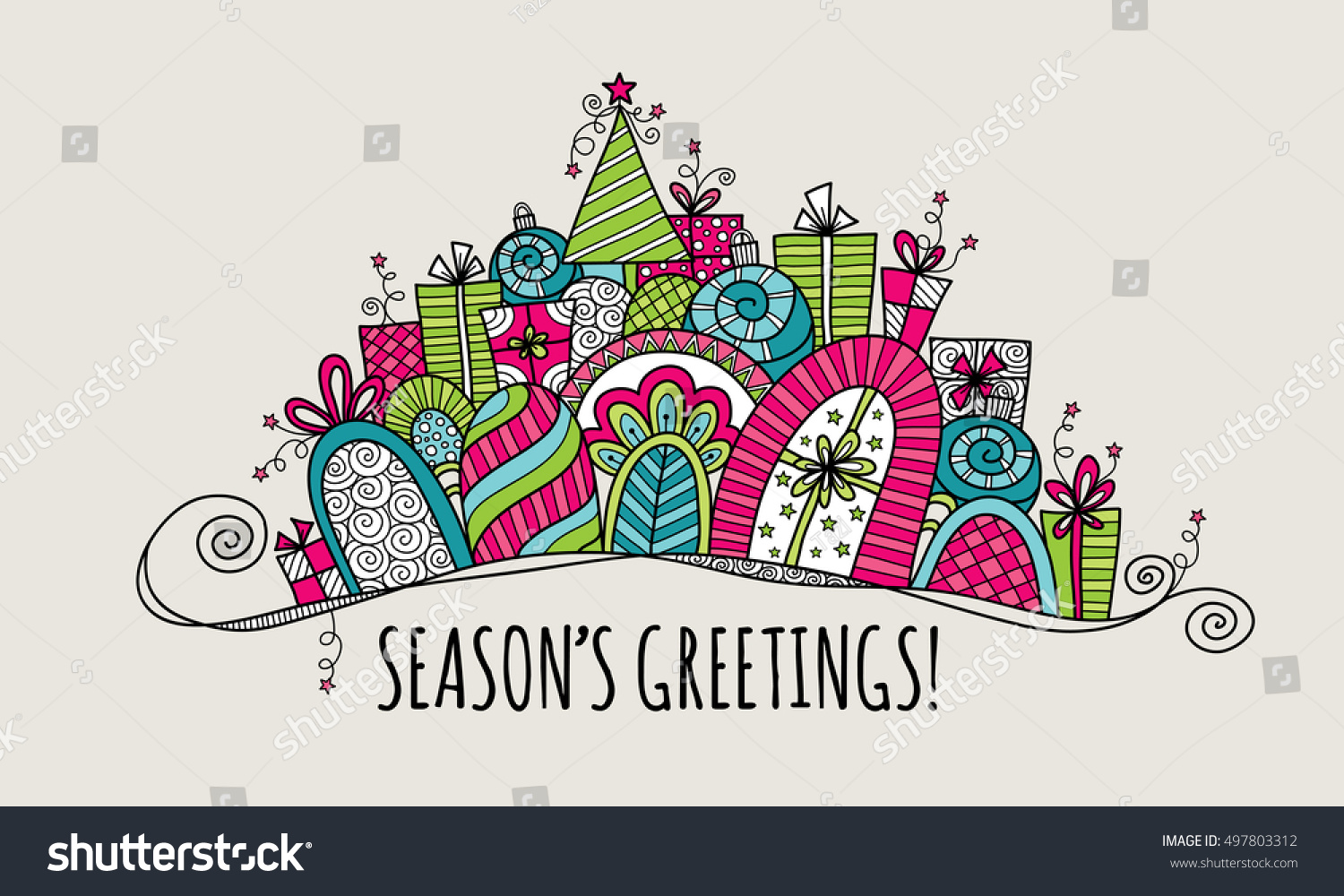 Seasons greetings modern christmas doodle vector stock vector seasons greetings modern christmas doodle vector illustration with the words seasons greetings under a banner of kristyandbryce Choice Image