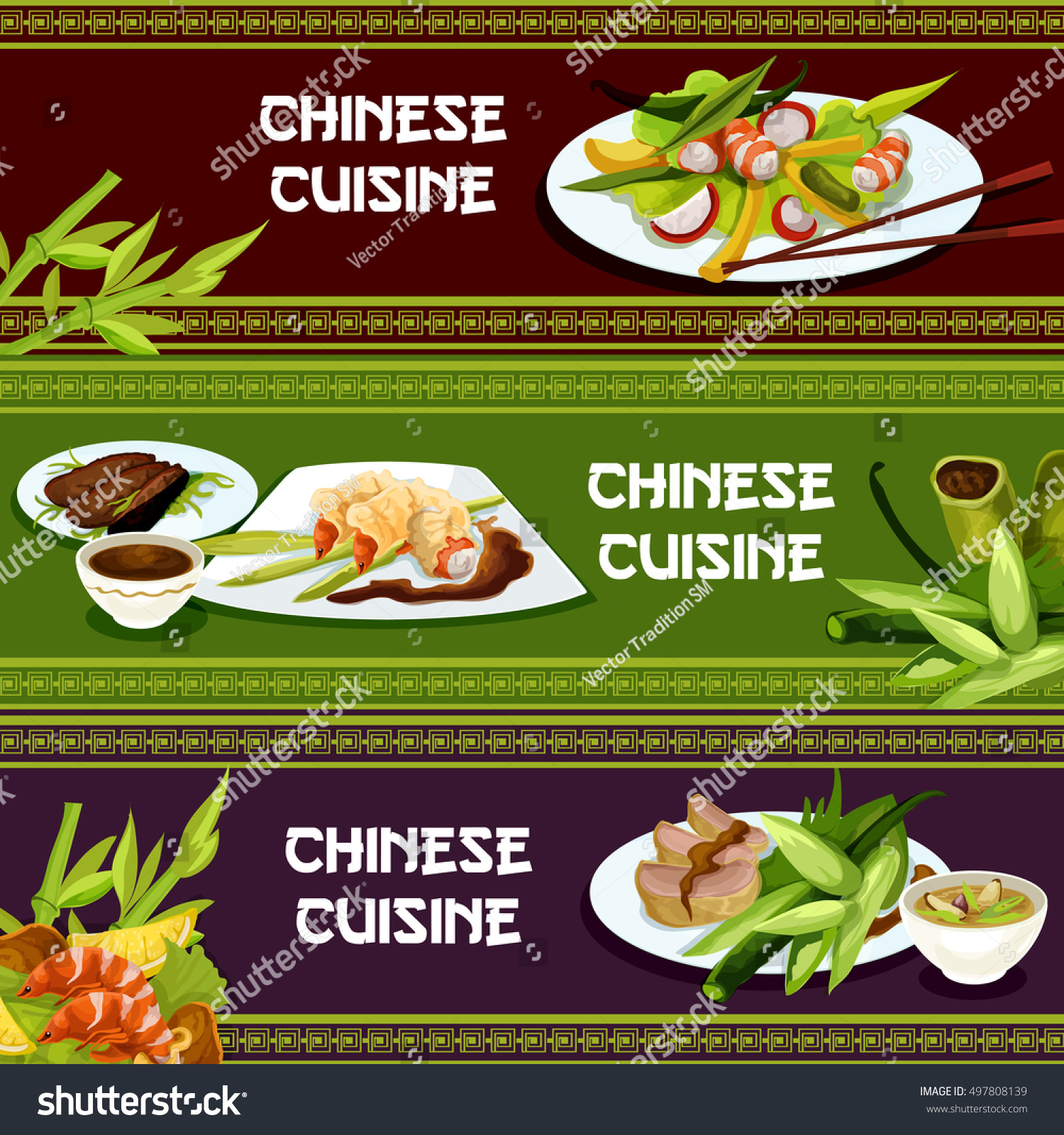 Chinese cuisine restaurant seafood menu banners stock for Asia cuisine menu