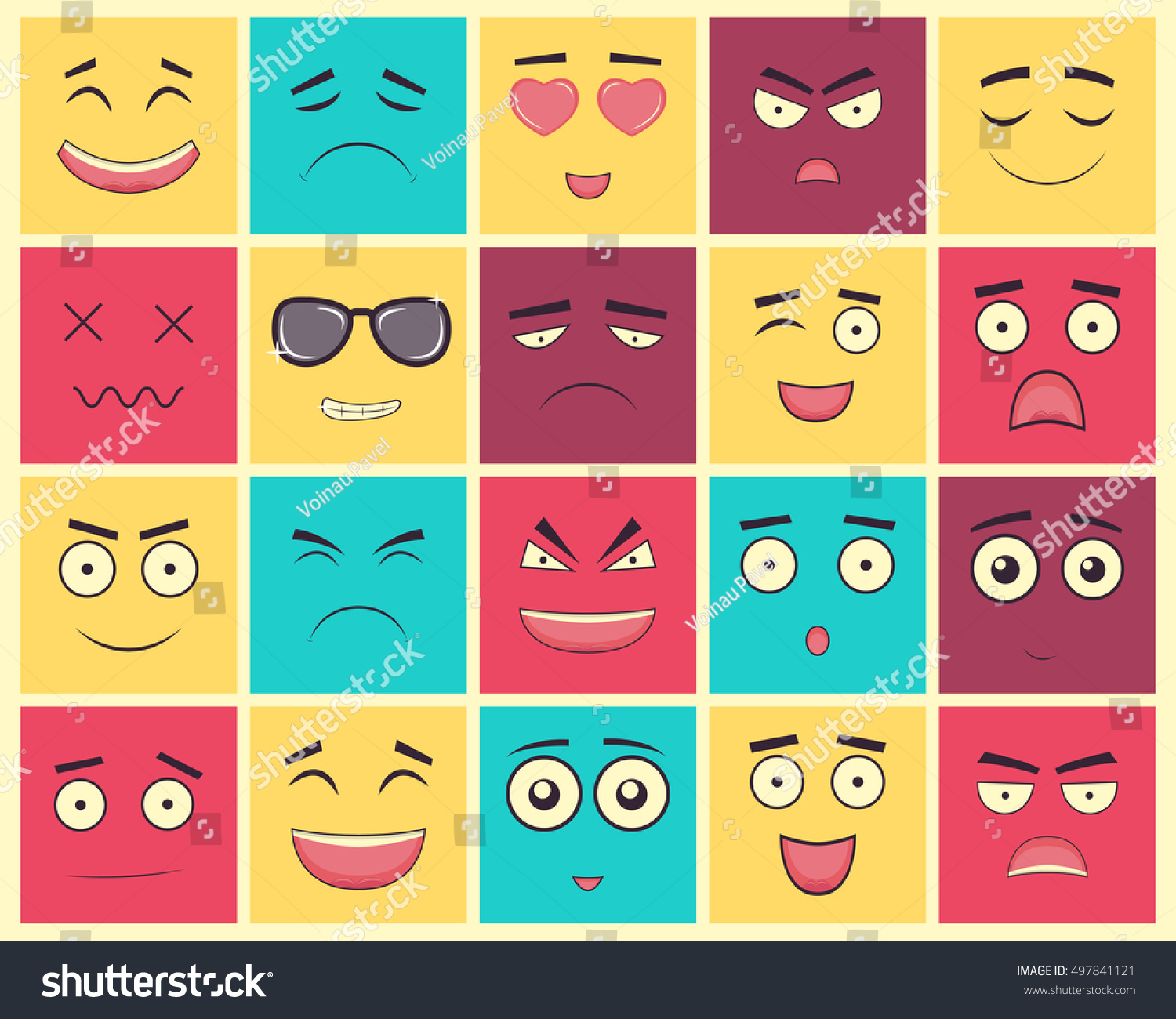 Set square emoticons emoticon web site stock vector 497841121 set of square emoticons emoticon for web site chat sms vector illustration biocorpaavc Image collections