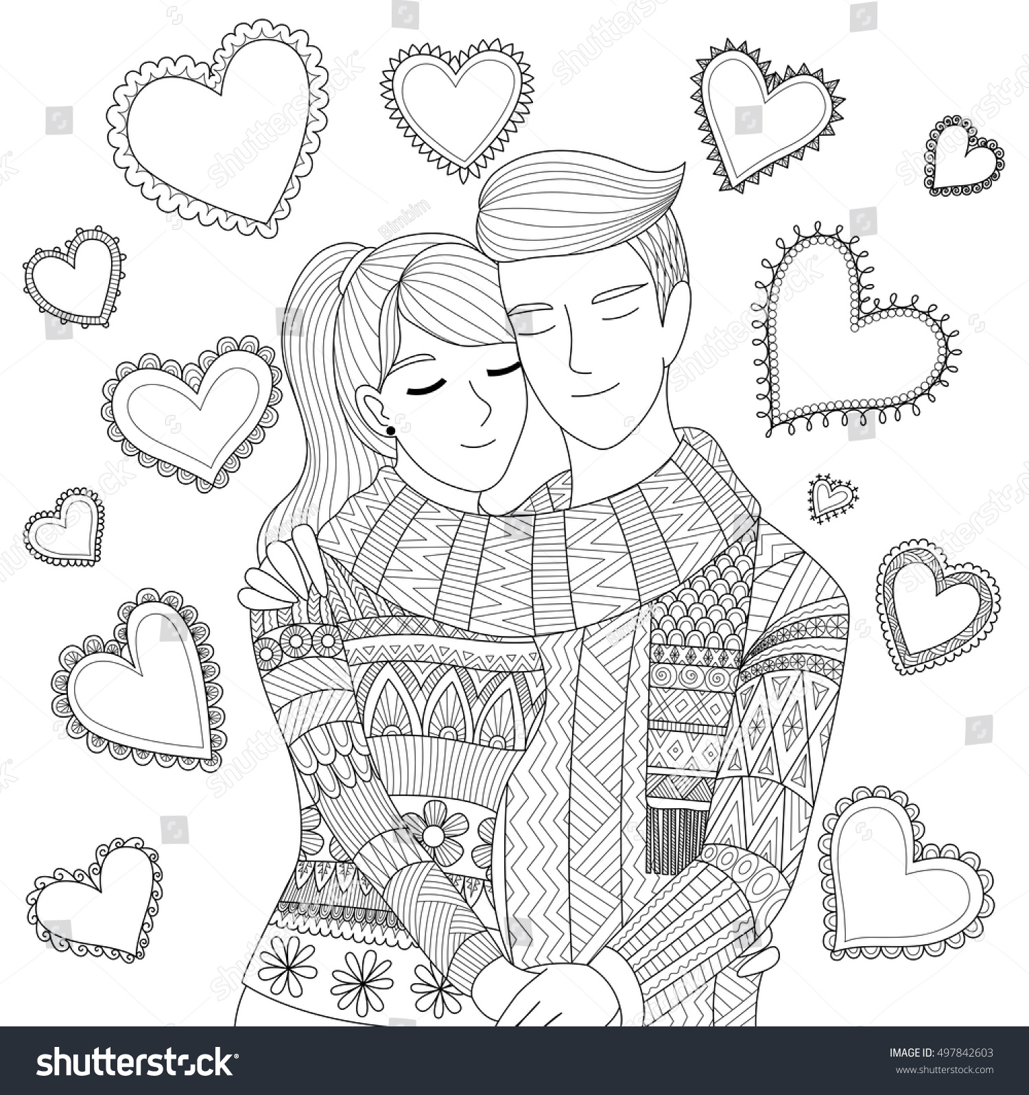 Love Each Other Coloring Page: Zendoodle Design Couple Holding Each Other Stock Vector