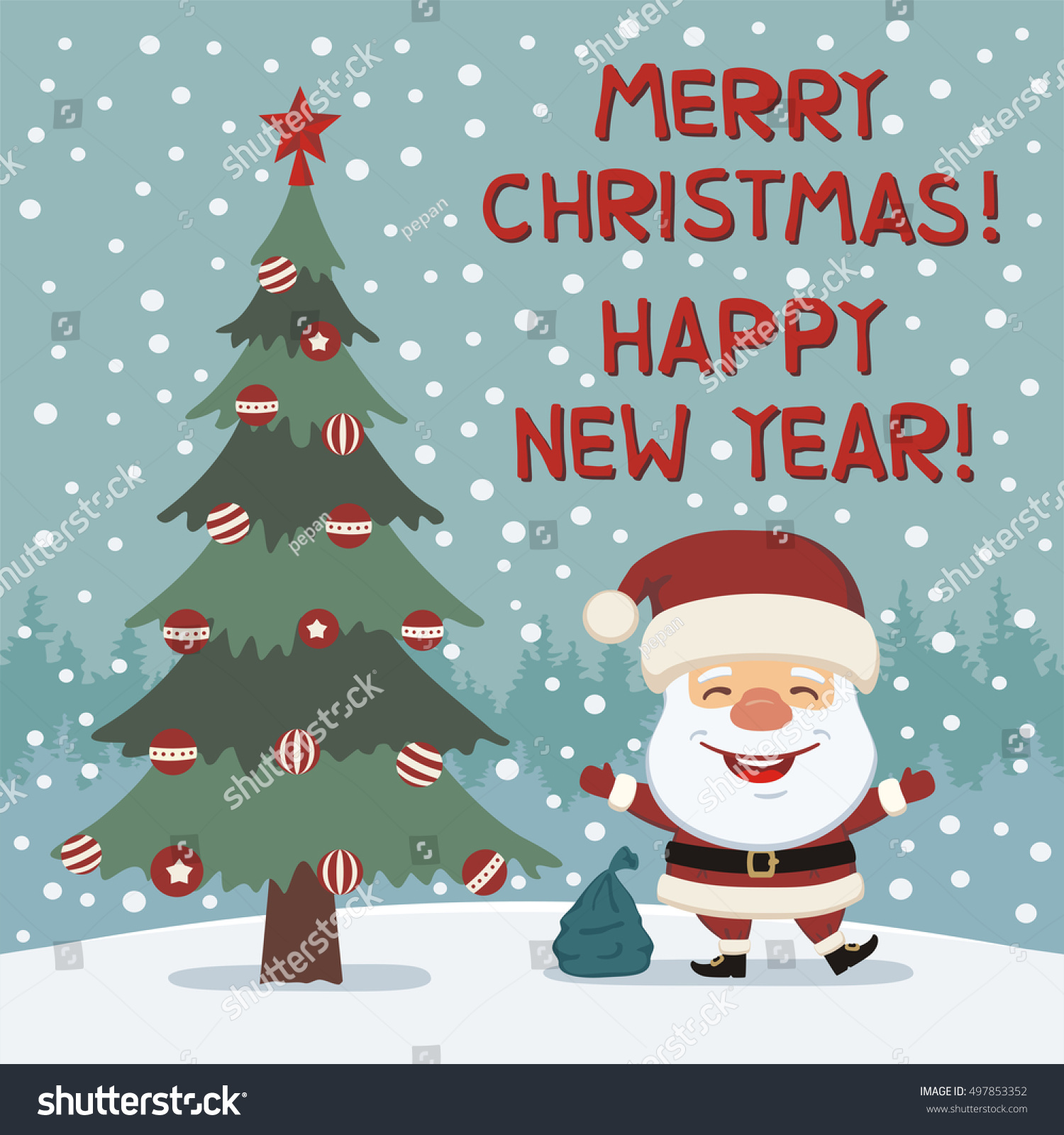 Merry Christmas and Happy New year! Funny Santa Claus dancing ...