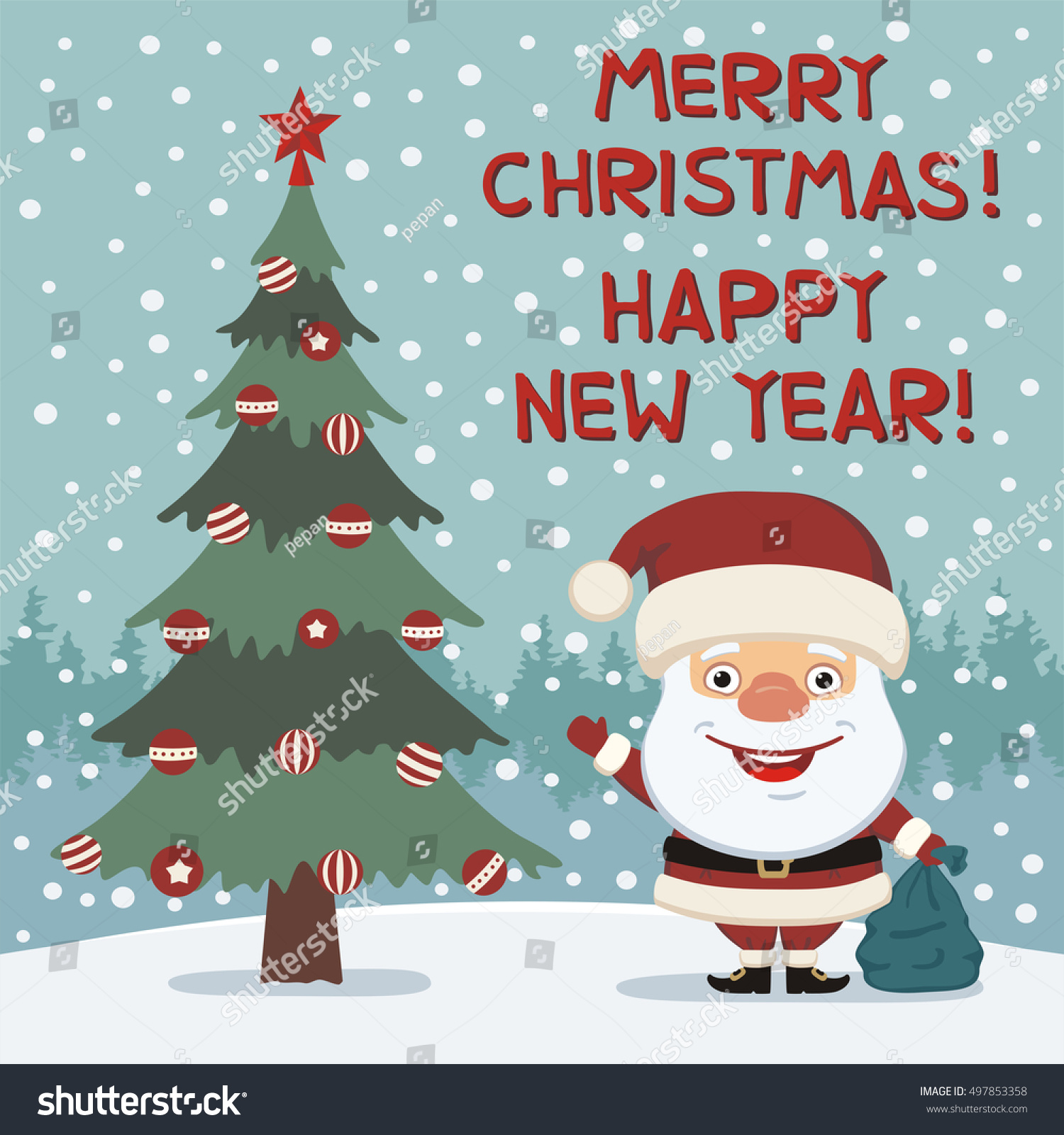 merry christmas and happy new year funny santa claus with gift bag greeting card - Funny Merry Christmas Images