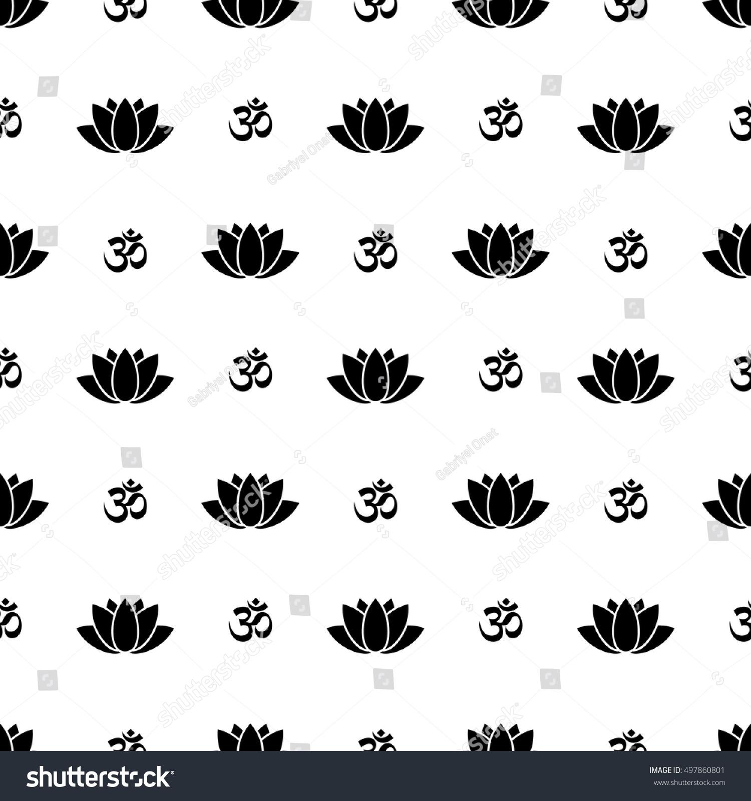 Lotus Flower Om Symbol Seamless Pattern Stock Vector Royalty Free