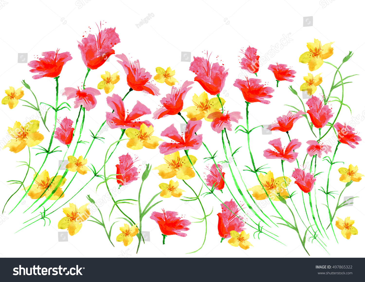 Watercolor Border Vintage Yellow Red Flowers Stock Illustration