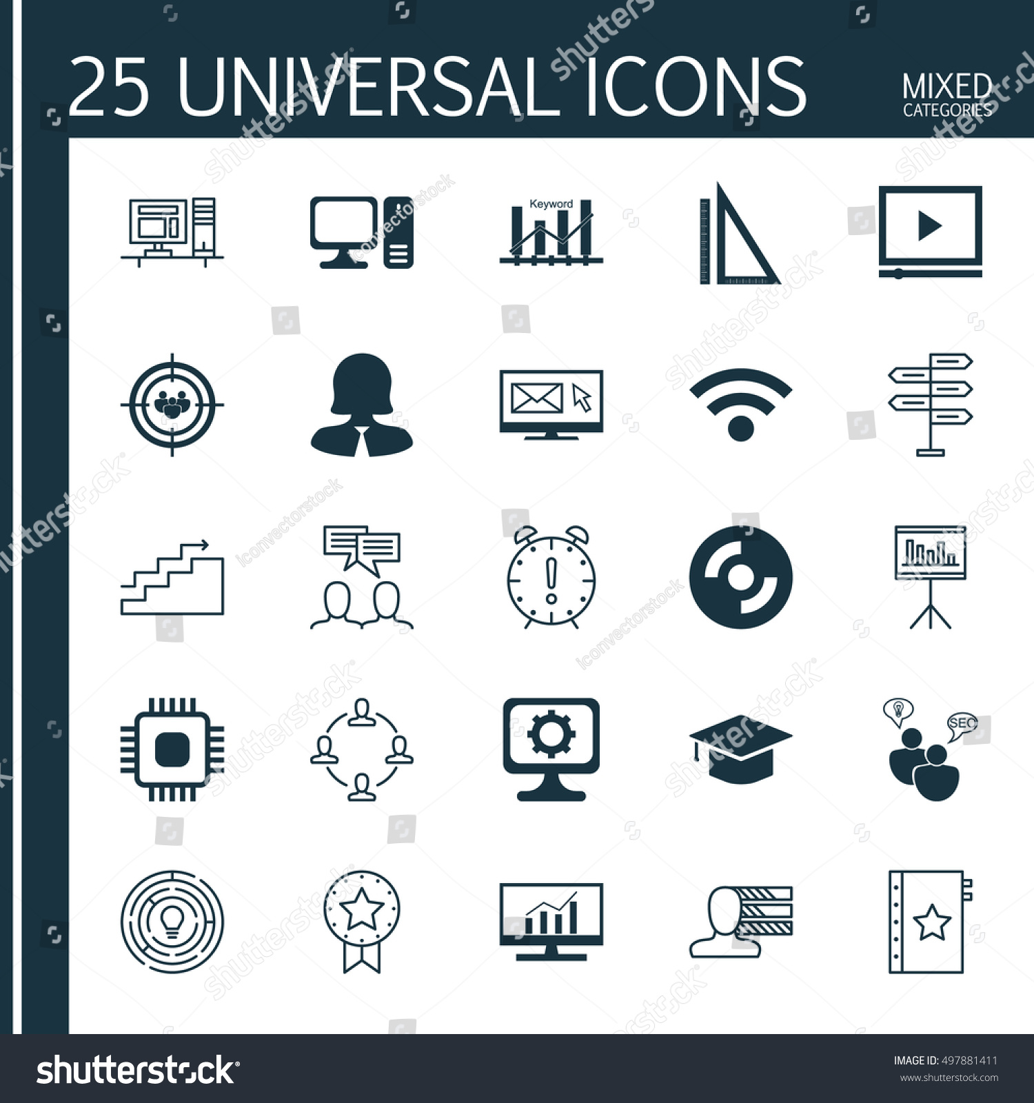 Set 25 Universal Icons On Computer Stock Vector (Royalty
