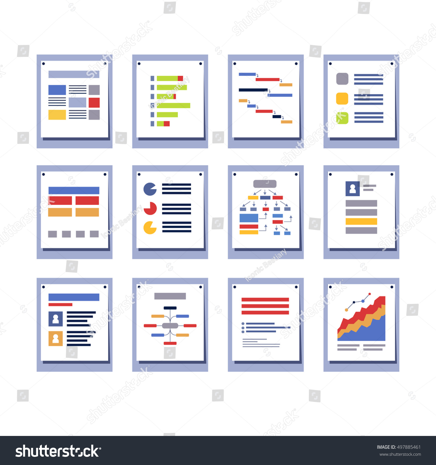 Drawing diagrams in pages - Set Of Elements For Infographic Design Diagrams Charts Pages And Graphs Sample