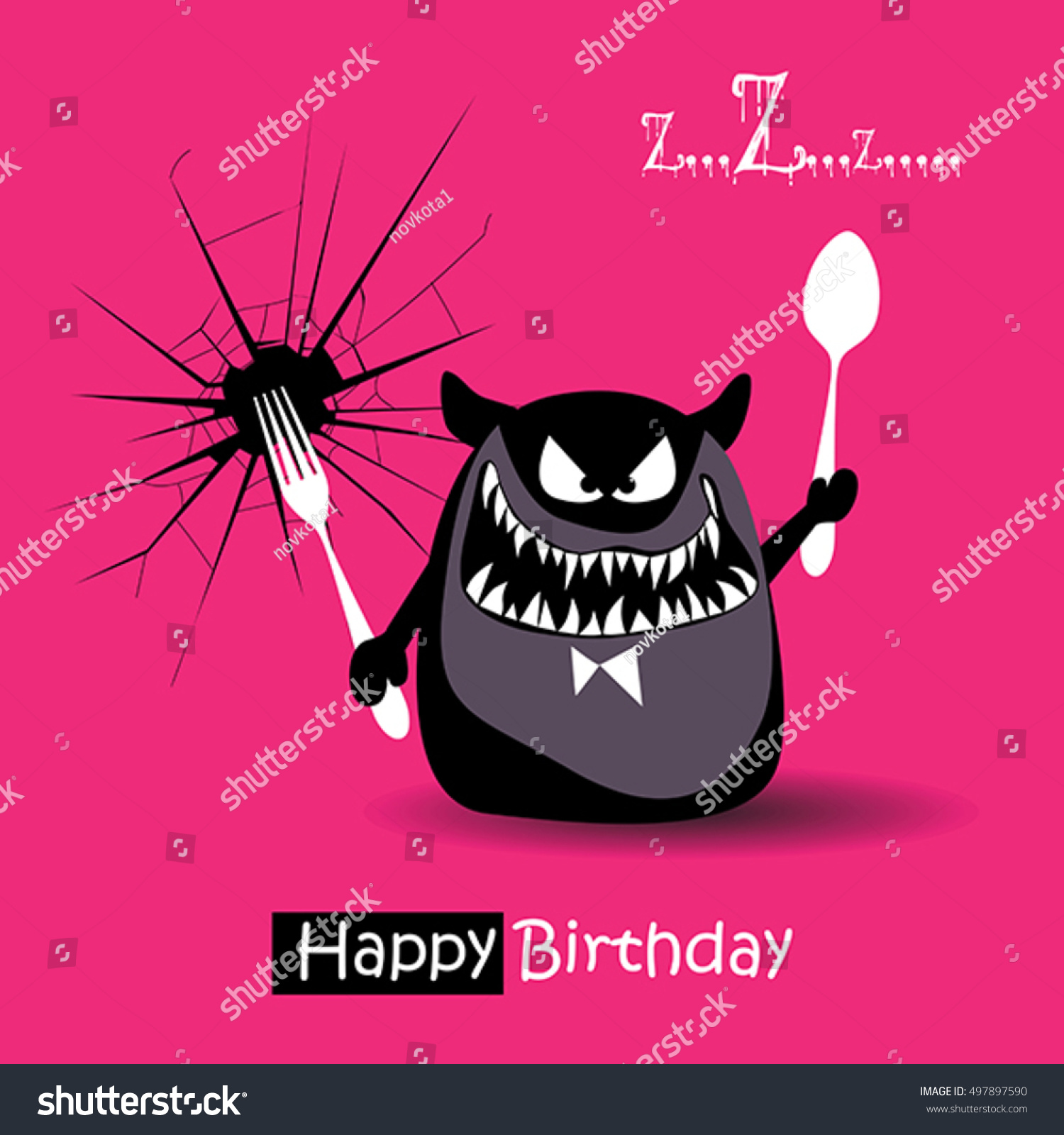 Happy Birthday Funny Card Smile Monsters Vector 497897590 – Happy Birthday Funny Cards