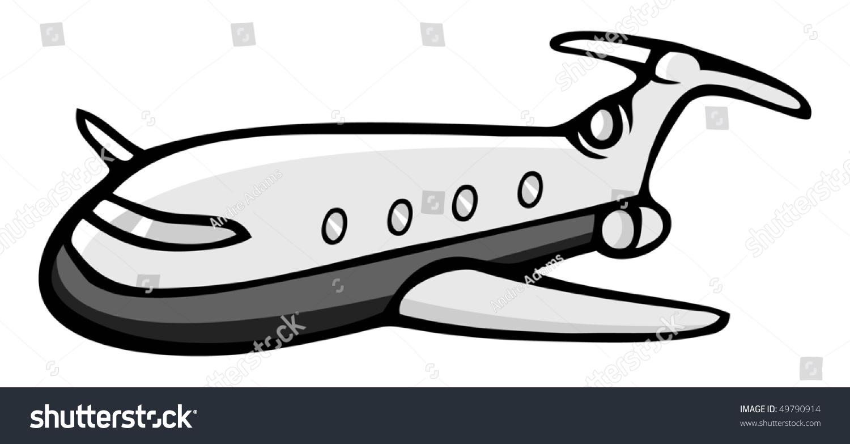 cartoon vector gray scale illustration jet stock vector 49790914