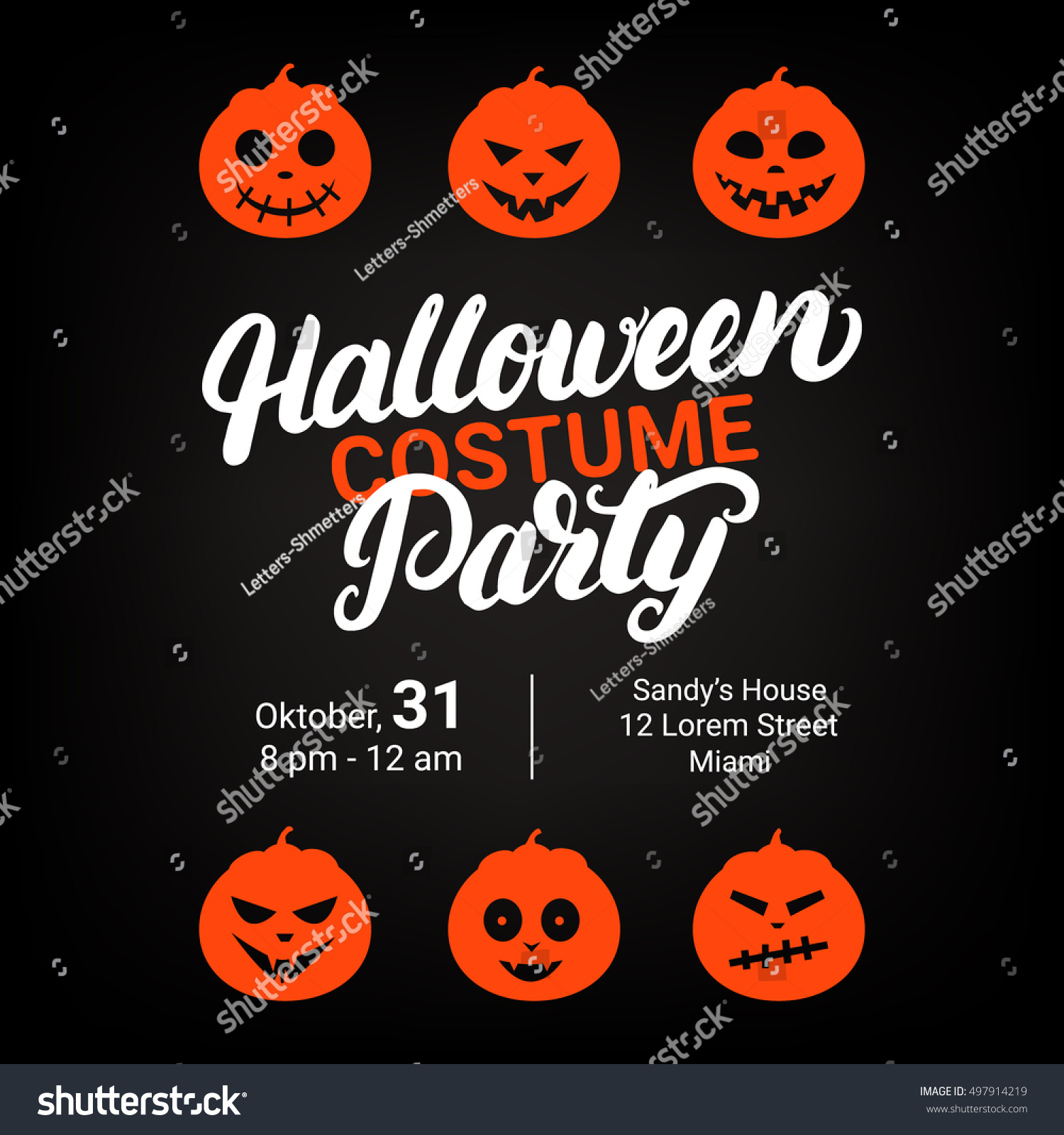 Halloween Costume Party Hand Written Lettering Stock Vector ...