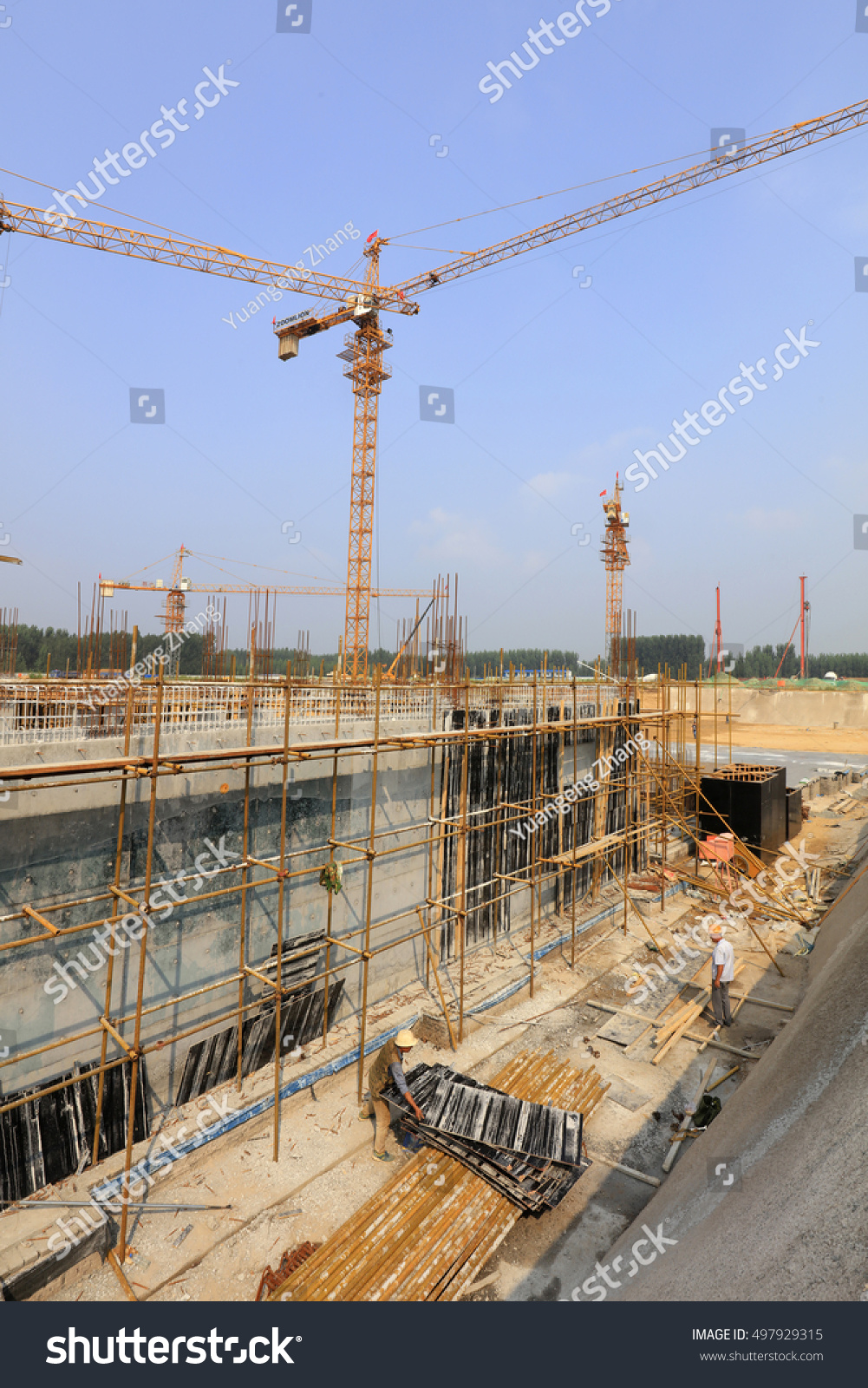 Steel pipe scaffold construction site stock photo
