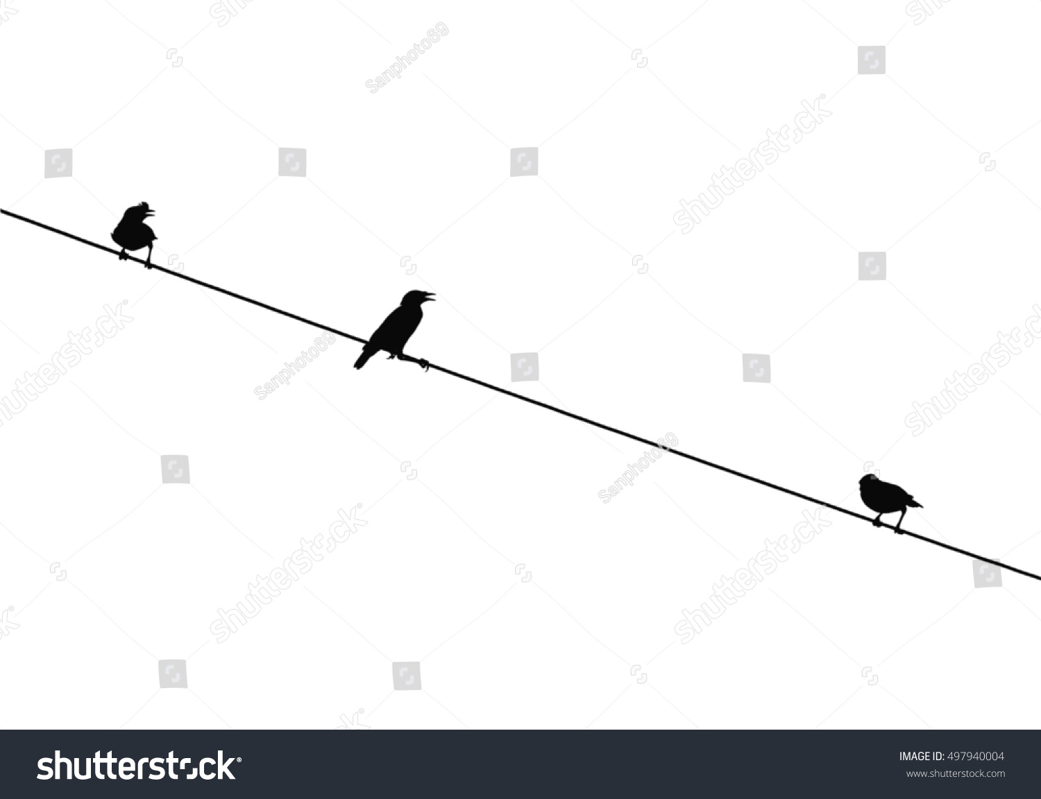 Silhouette Bird On Wire White Background Stock Photo (Edit Now ...