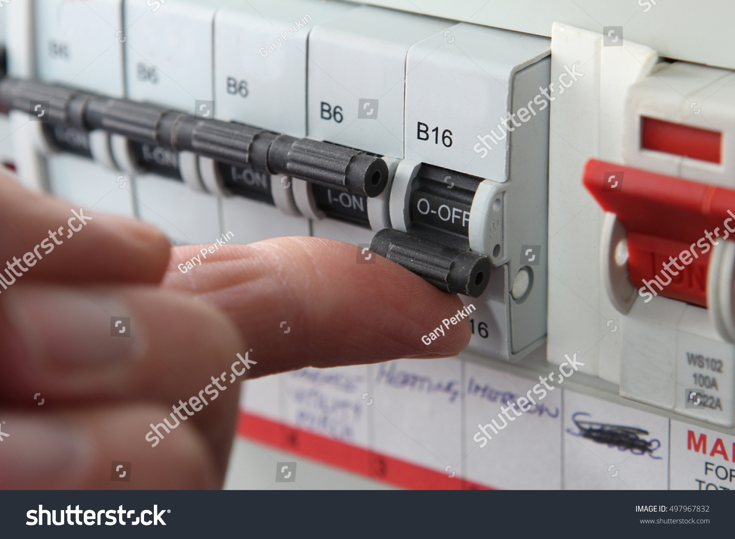 Switching Mcb Micro Circuit Breaker On Stock Photo Edit Now Fuse Box Unit An A Uk Domestic Electrical Consumer Or