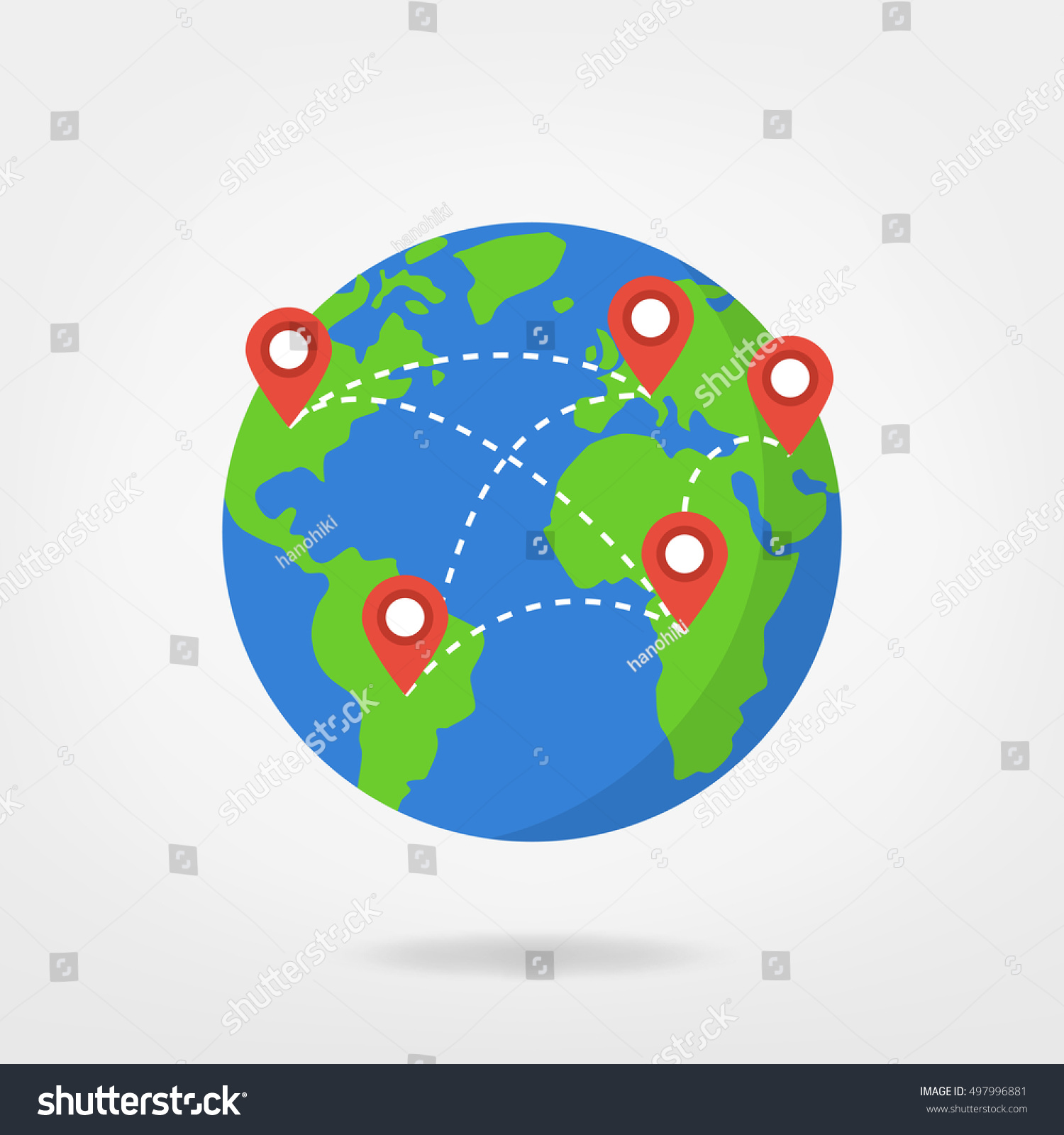 Pin points on world map travel vectores en stock 497996881 pin points on world map travel concept illustration location marker on globe vector gumiabroncs Images