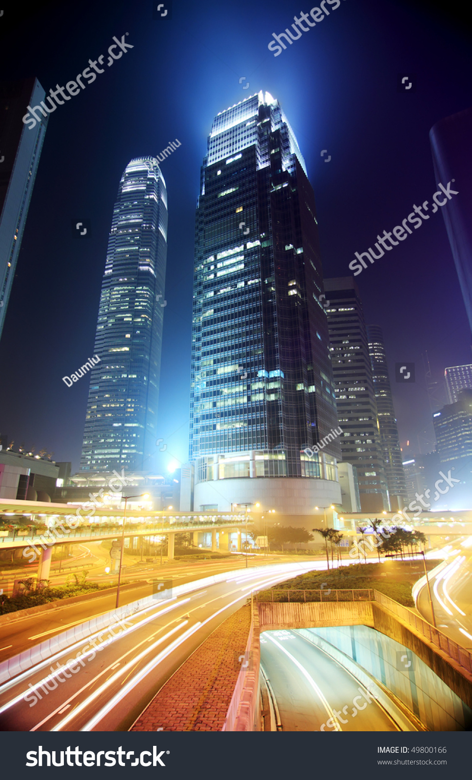 Hong Kong Business District At Night. Corporate Building ...
