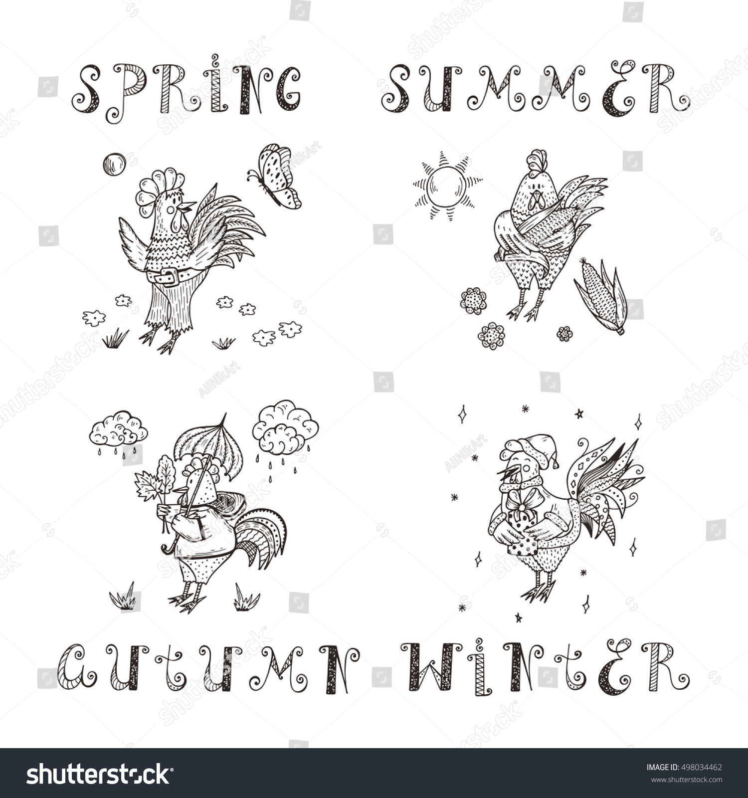 Different Funny Cartoon Roosters Vector Set Stock Vector Royalty