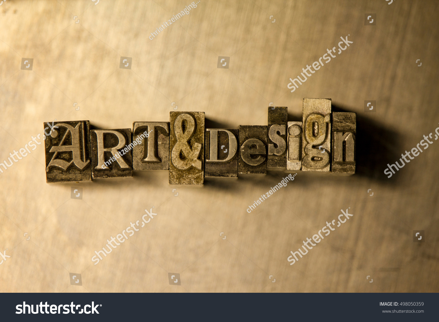Lettering On Metal Bronze Metal Art Design Typography Lettering Stock Photo 498050359