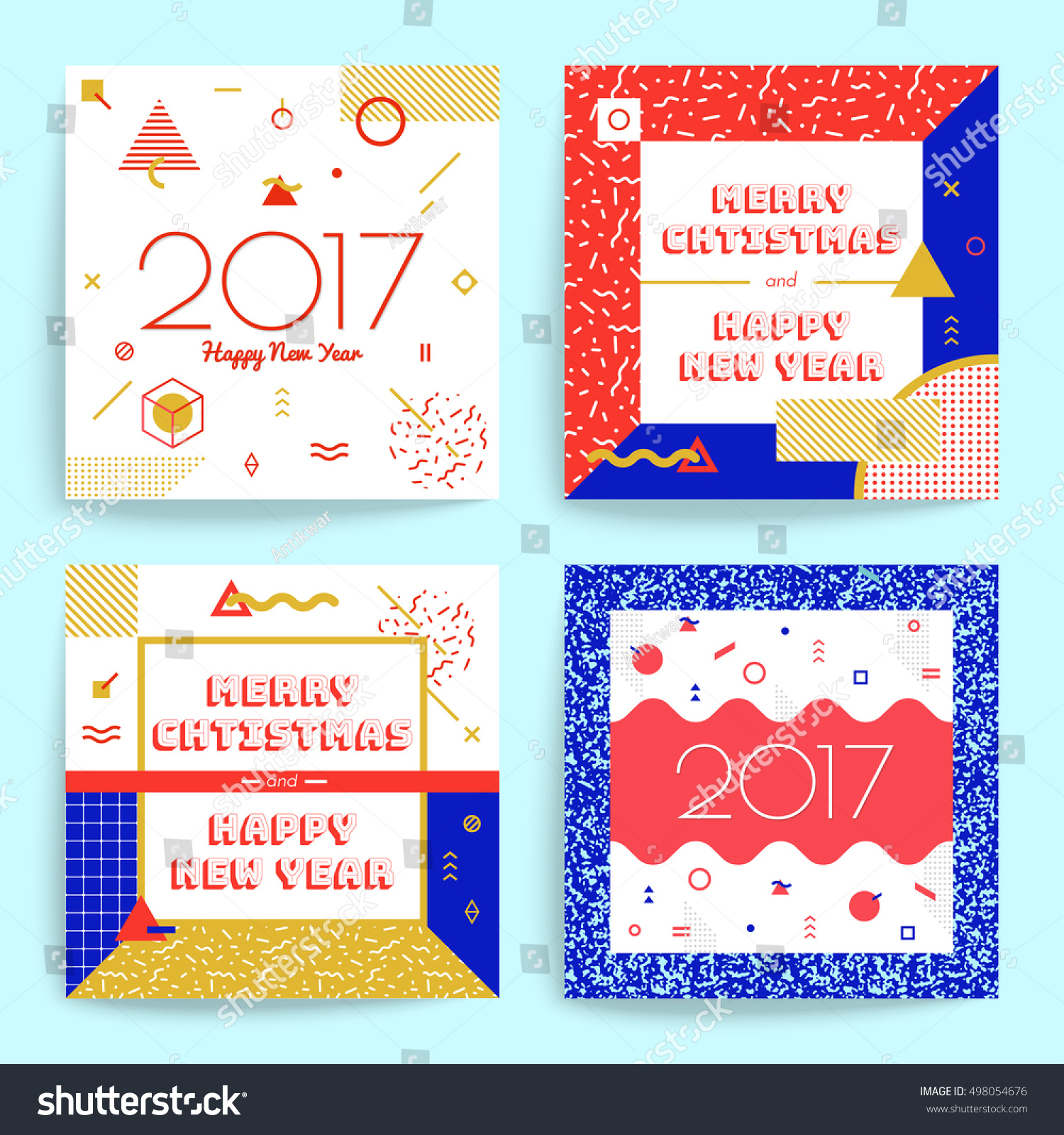 Christmas New Year Greeting Cards Multicolored Stock Vector (Royalty ...