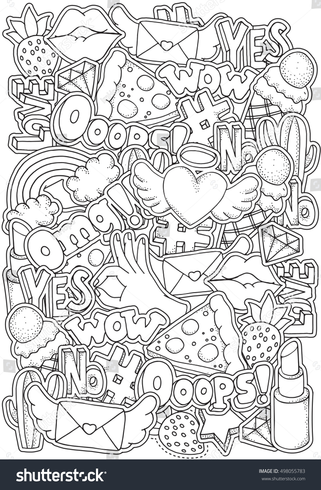 Coloring Book Page For Adult With Fashion Patch Badges In Cartoon 80s 90s Comic Style