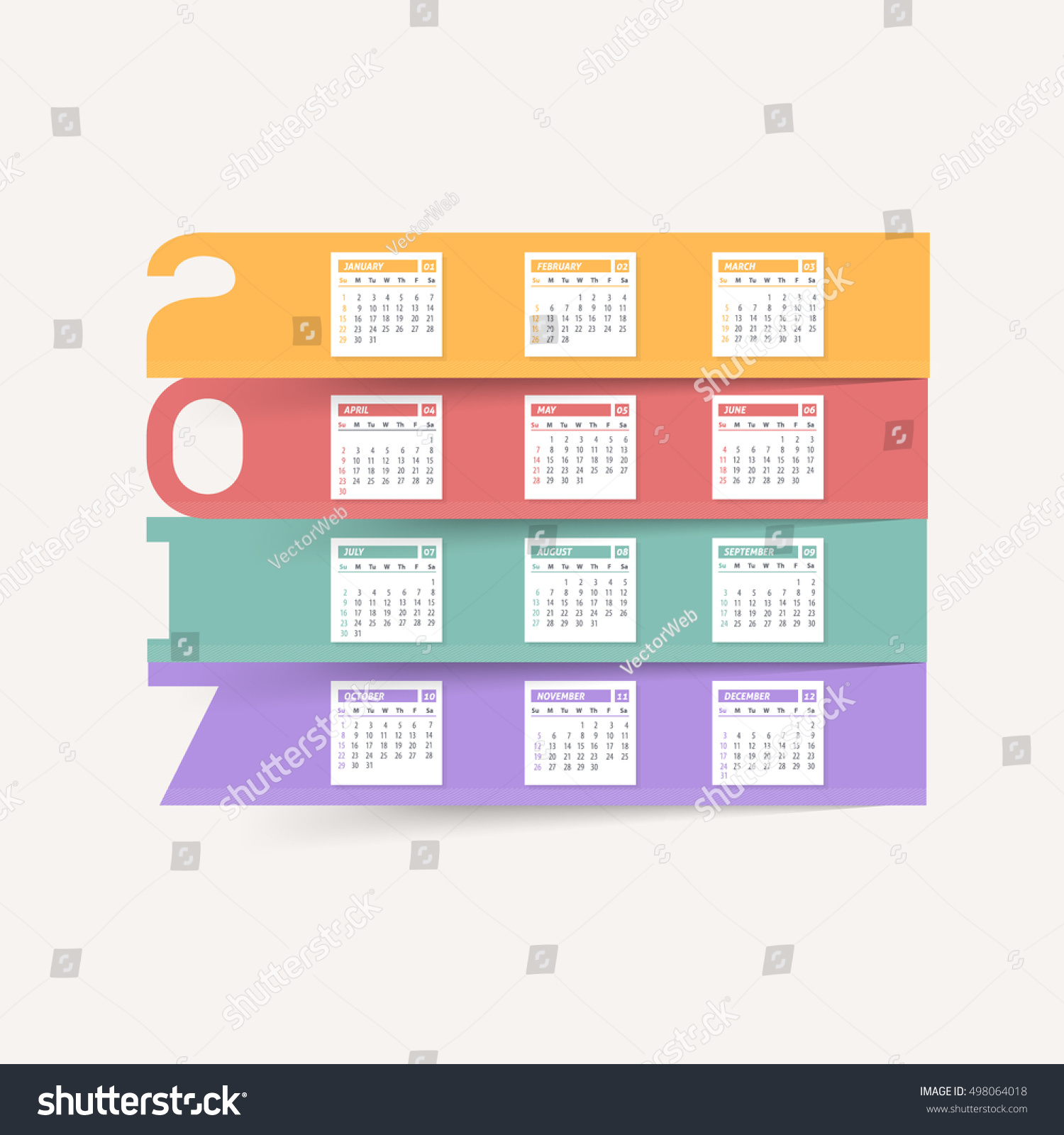 Colorful Papers 2017 Full Calendar Template Stock Vector Royalty