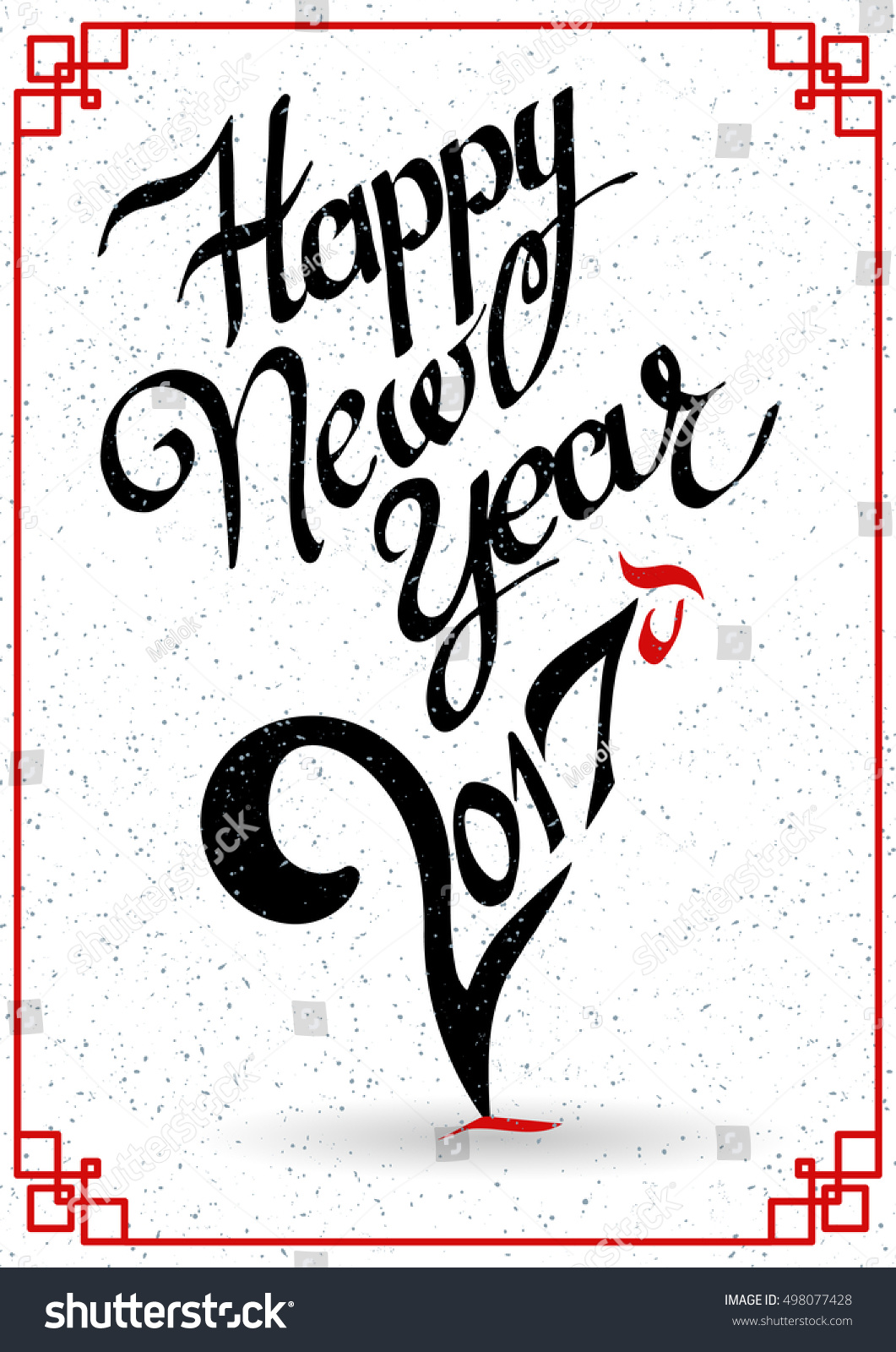 Royalty free happy new year 2017 creative greeting 498077428 concept lettering handmade vector calligraphy for prints posters cards gift design greeting card with rooster symbol of the chinese new year biocorpaavc