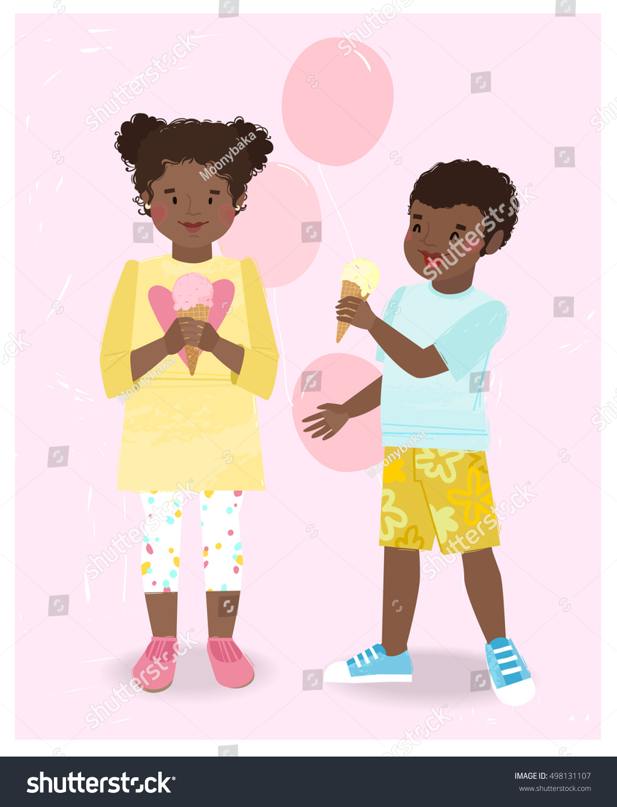 cute pair african american kids boy stock vector 498131107
