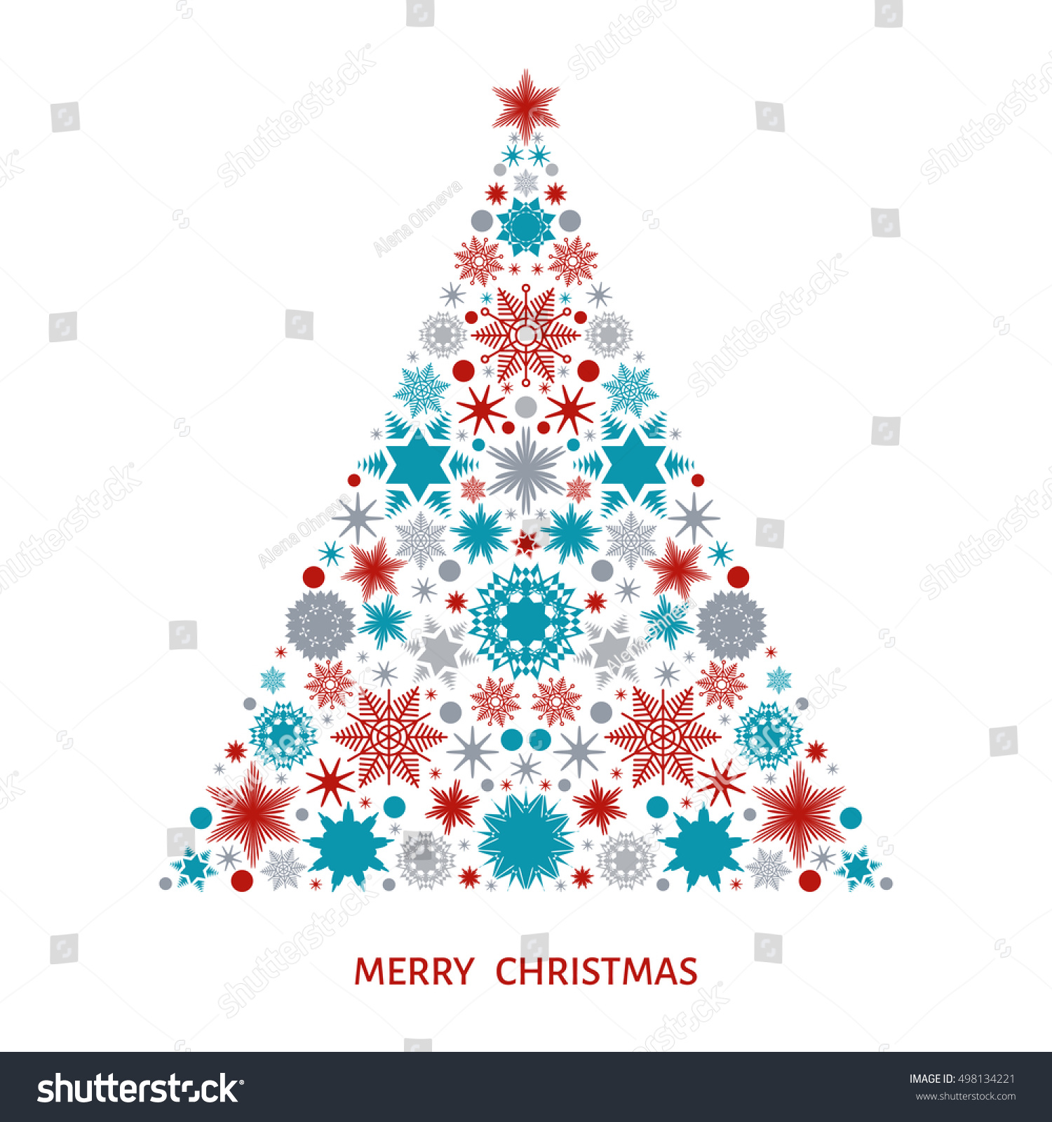 Christmas Tree Decoration Elements: Christmas Tree With Pattern From Varicolored Snowflakes