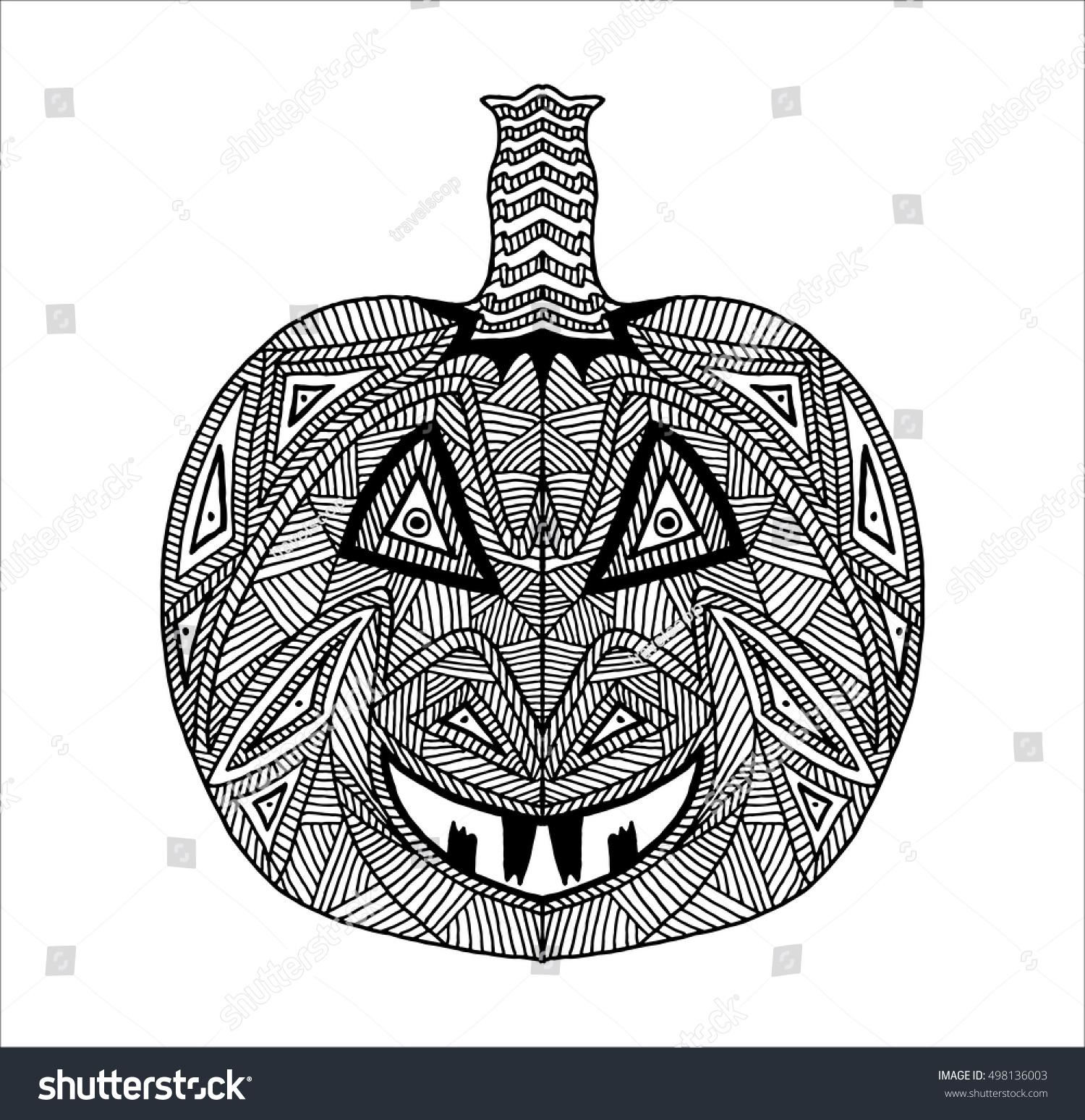 Hand drawn halloween pumpkin crazy spooky stock vector