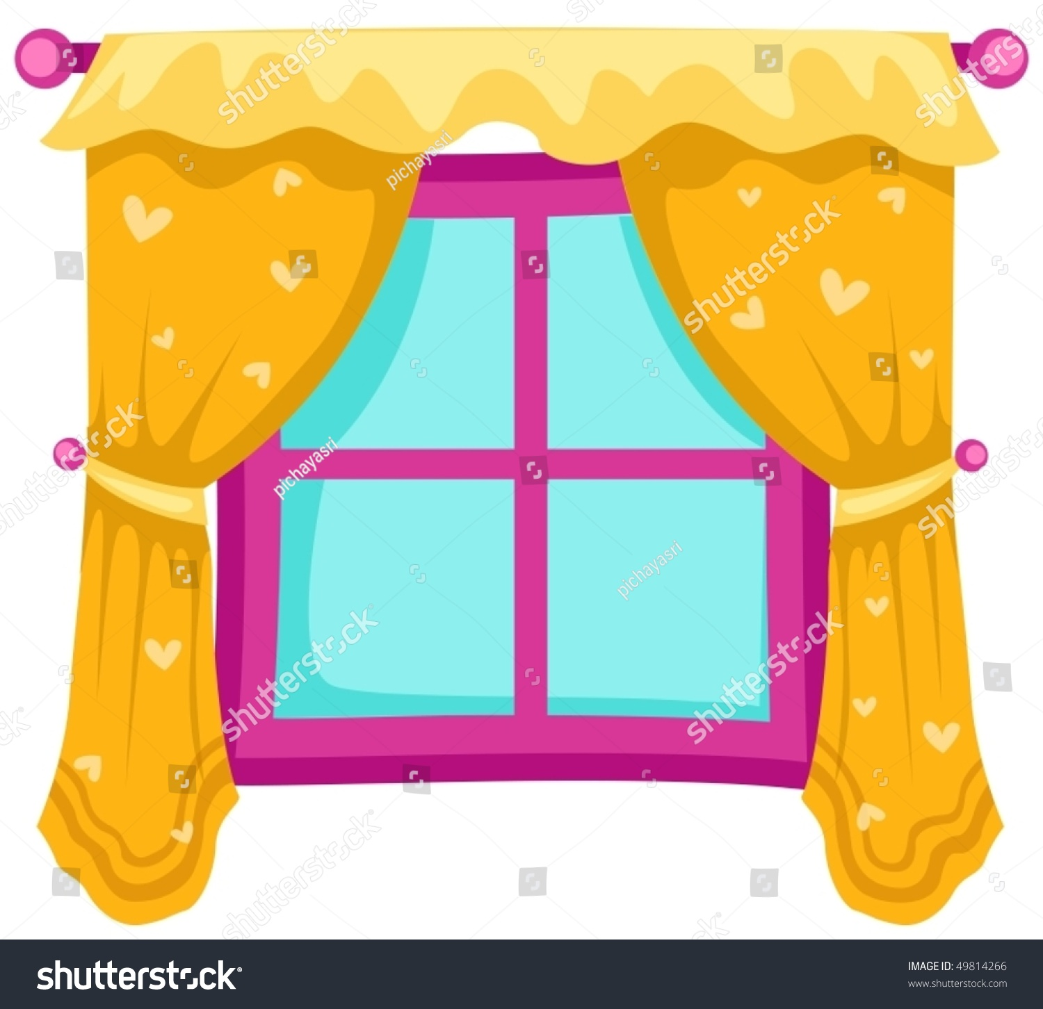 Illustration Isolated Closed Window Yellow Curtains Stock Vector ... for Window With Curtains Illustration  66pct