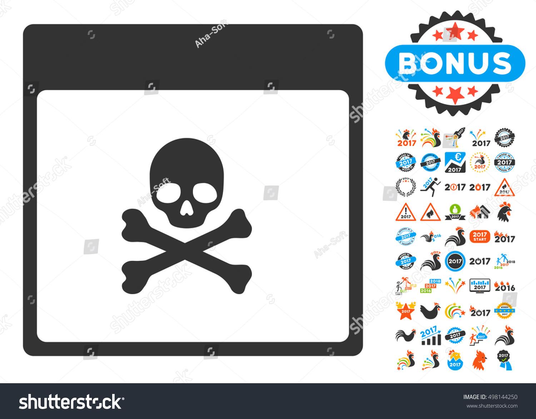 Calendar Pages Vector : Poison skull calendar page pictograph bonus stock vector