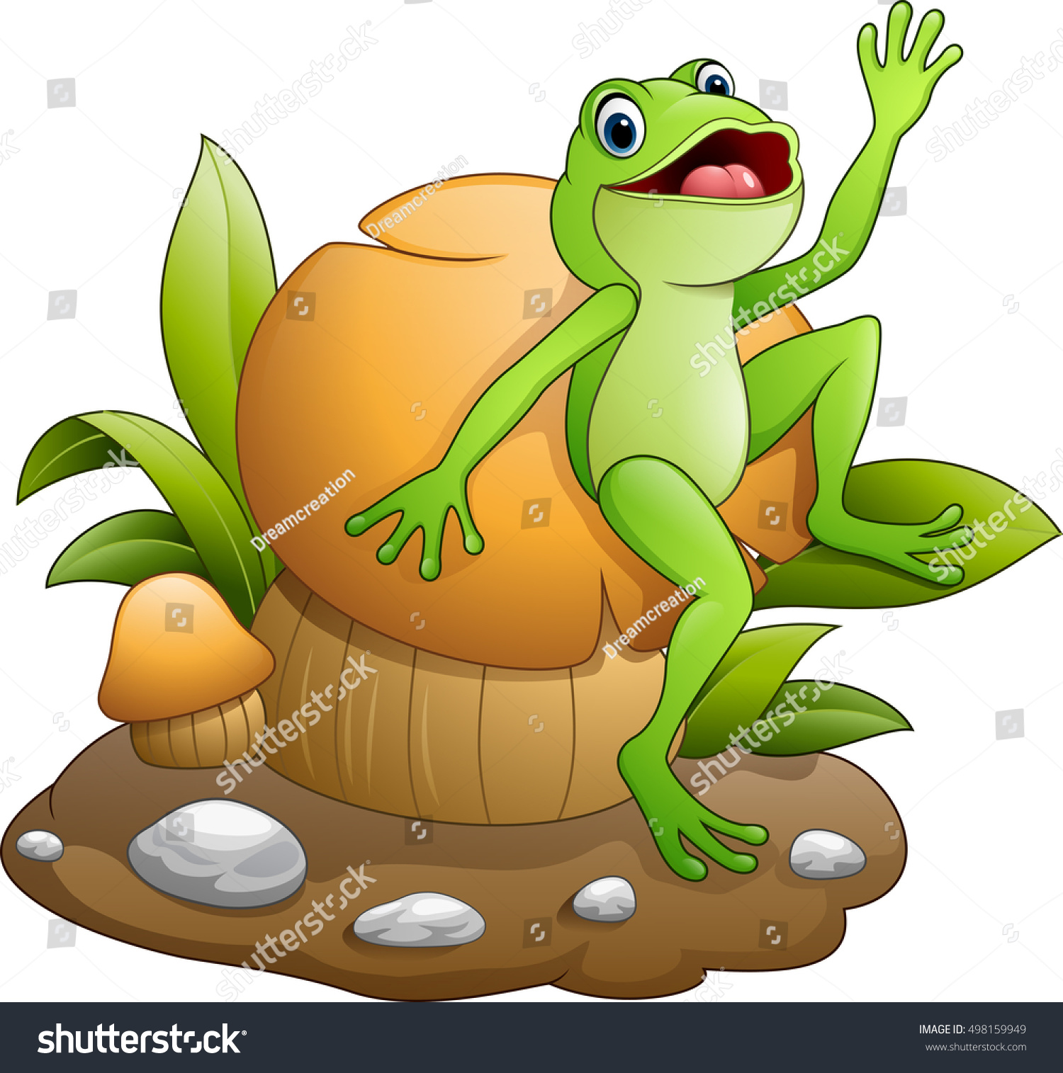 cute frog mushrooms stock illustration 498159949 shutterstock