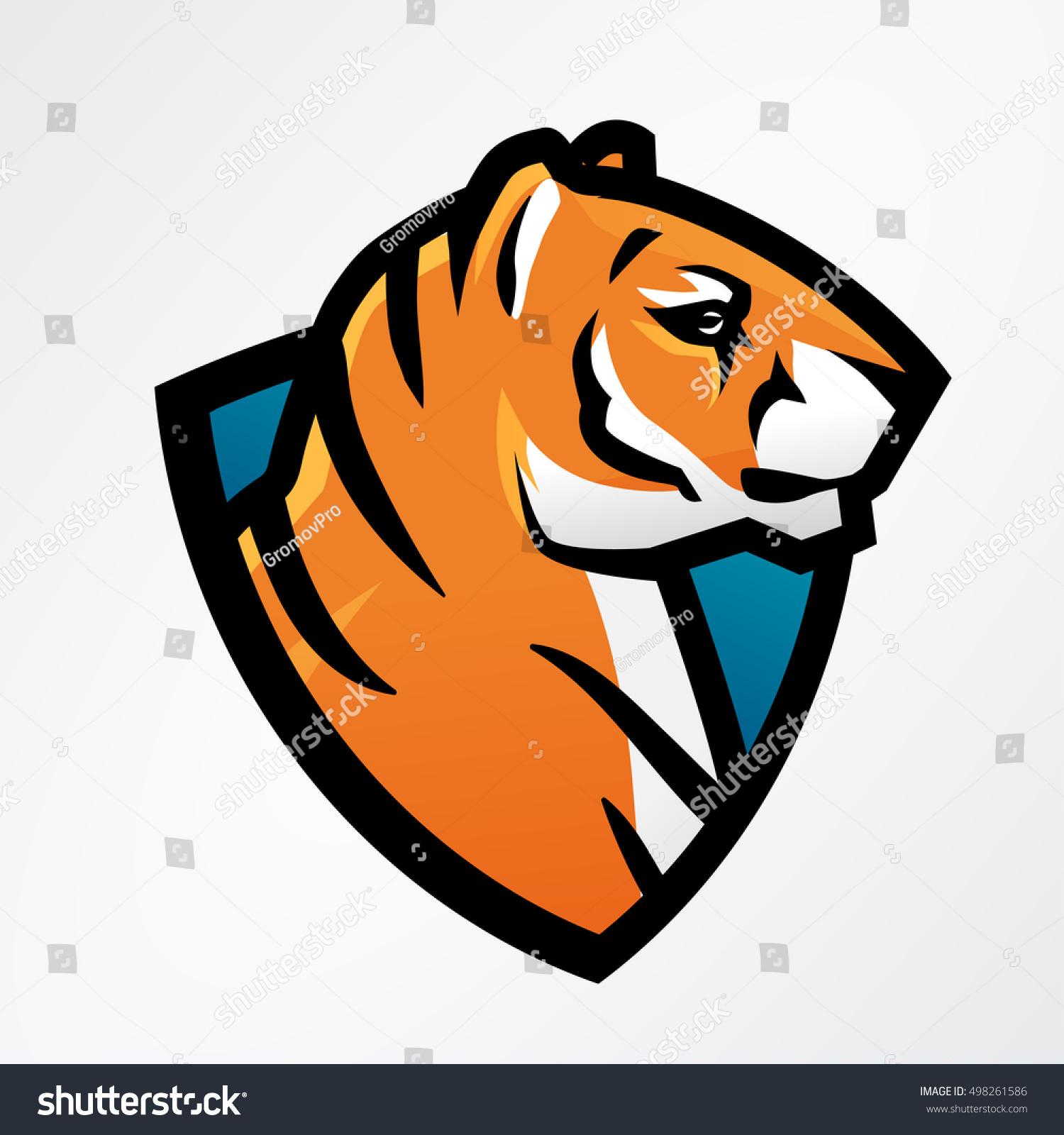 Tiger Shield Sport Mascot Template Football Stock Vector Royalty