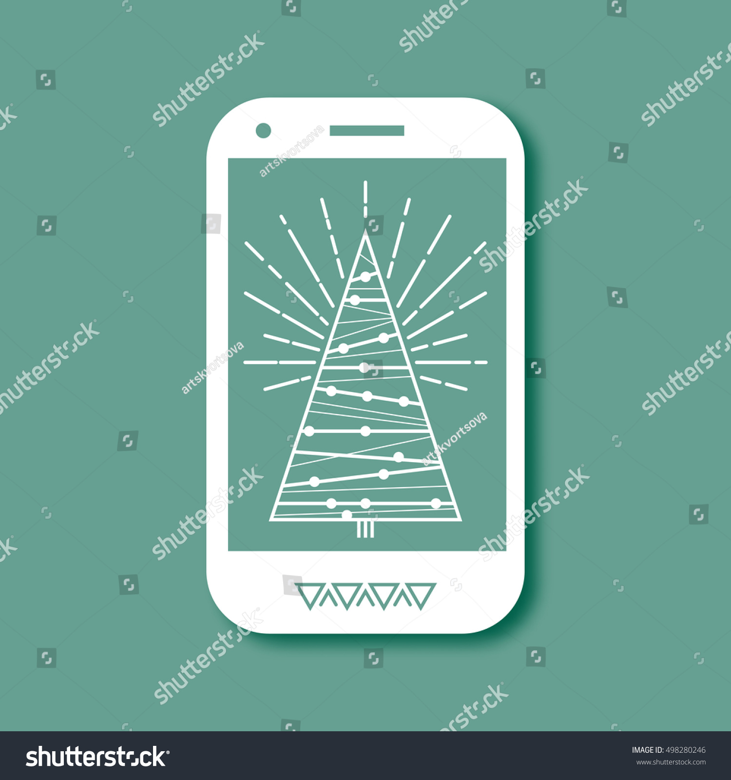 Mobile Phone Christmas Tree Vector Design Stock Vector Royalty Free