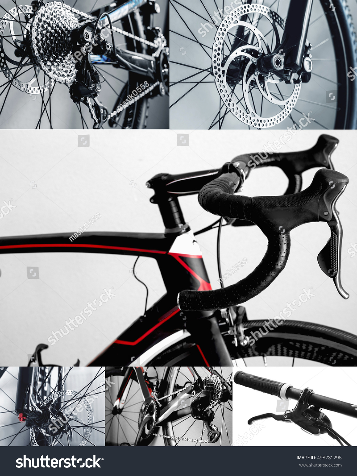 Bicycle Parts Collage Road Bike Mountain Stock Photo Edit Now